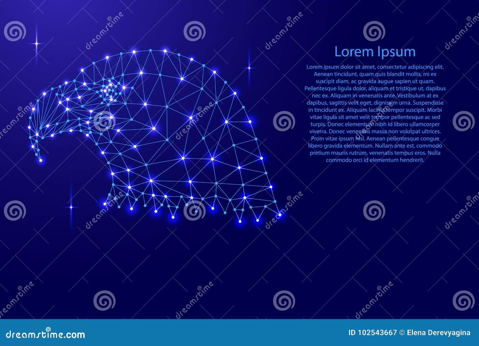 Επικεφαλής ενός φαλακρού αετού, εθνικό σύμβολο Πολιτεία από το polygonal δίκτυο γραμμών μωσαϊκών, ακτίνες, διαστημικά αστέρια για