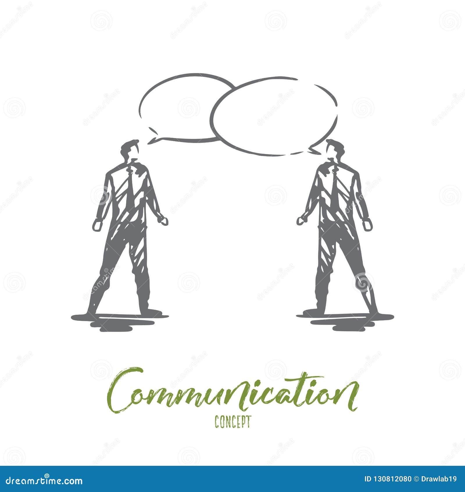 Επικοινωνία, επιχείρηση, ομιλία, συνομιλία, έννοια συνομιλίας Συρμένο χέρι απομονωμένο διάνυσμα