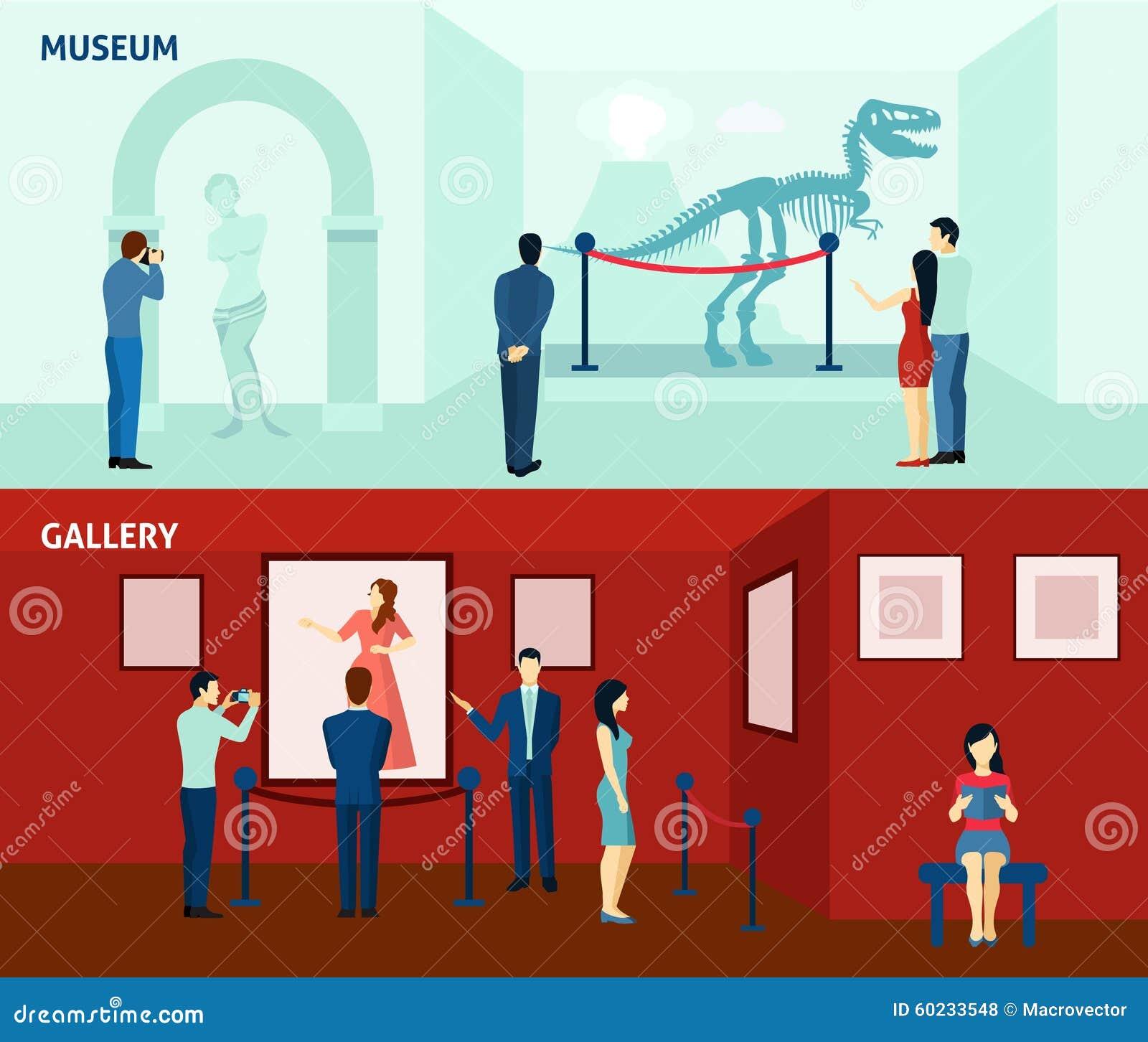 Επισκέπτες 2 μουσείων επίπεδη αφίσα εμβλημάτων