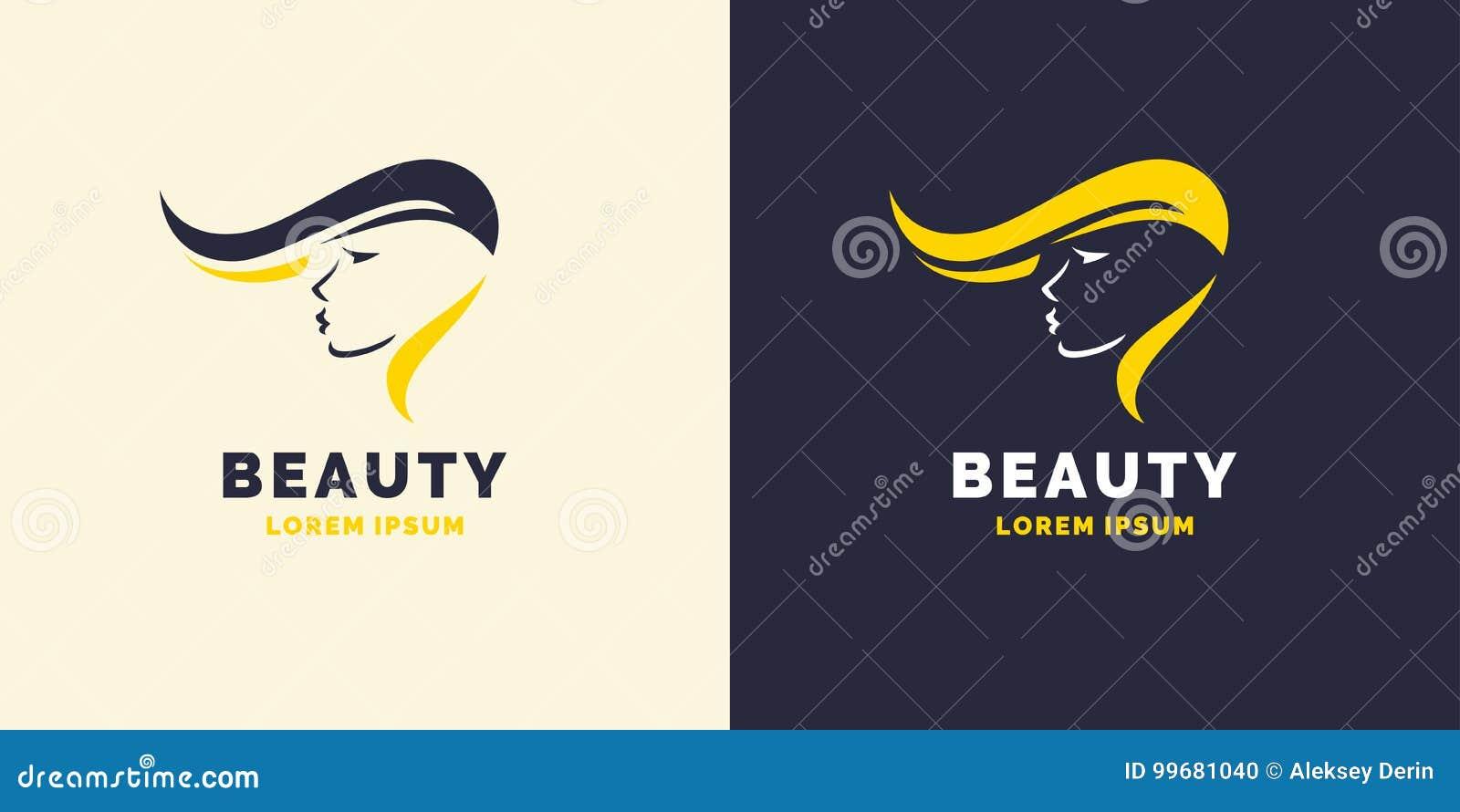 Επισκευή τρίχας και φωτεινό λογότυπο για το κατάστημα κουρέων Σκιαγραφία ενός κοριτσιού για ένα σαλόνι ομορφιάς