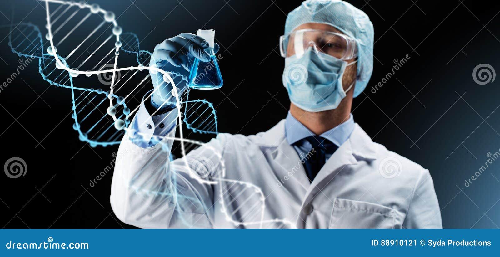 Επιστήμονας στη φιάλη εκμετάλλευσης μασκών με τη χημική ουσία