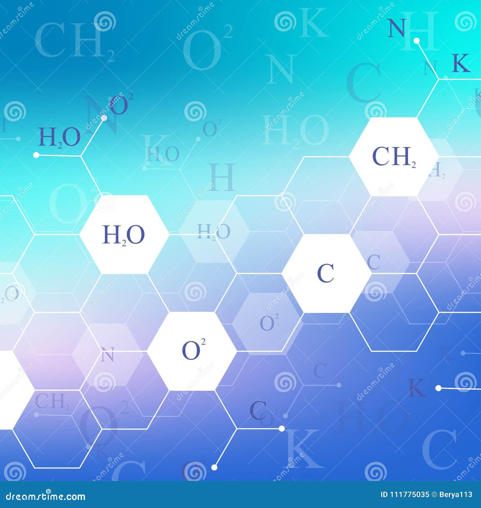 Επιστημονικό εξαγωνικό σχέδιο χημείας Έρευνα DNA μορίων δομών ως έννοια Υπόβαθρο επιστήμης και τεχνολογίας