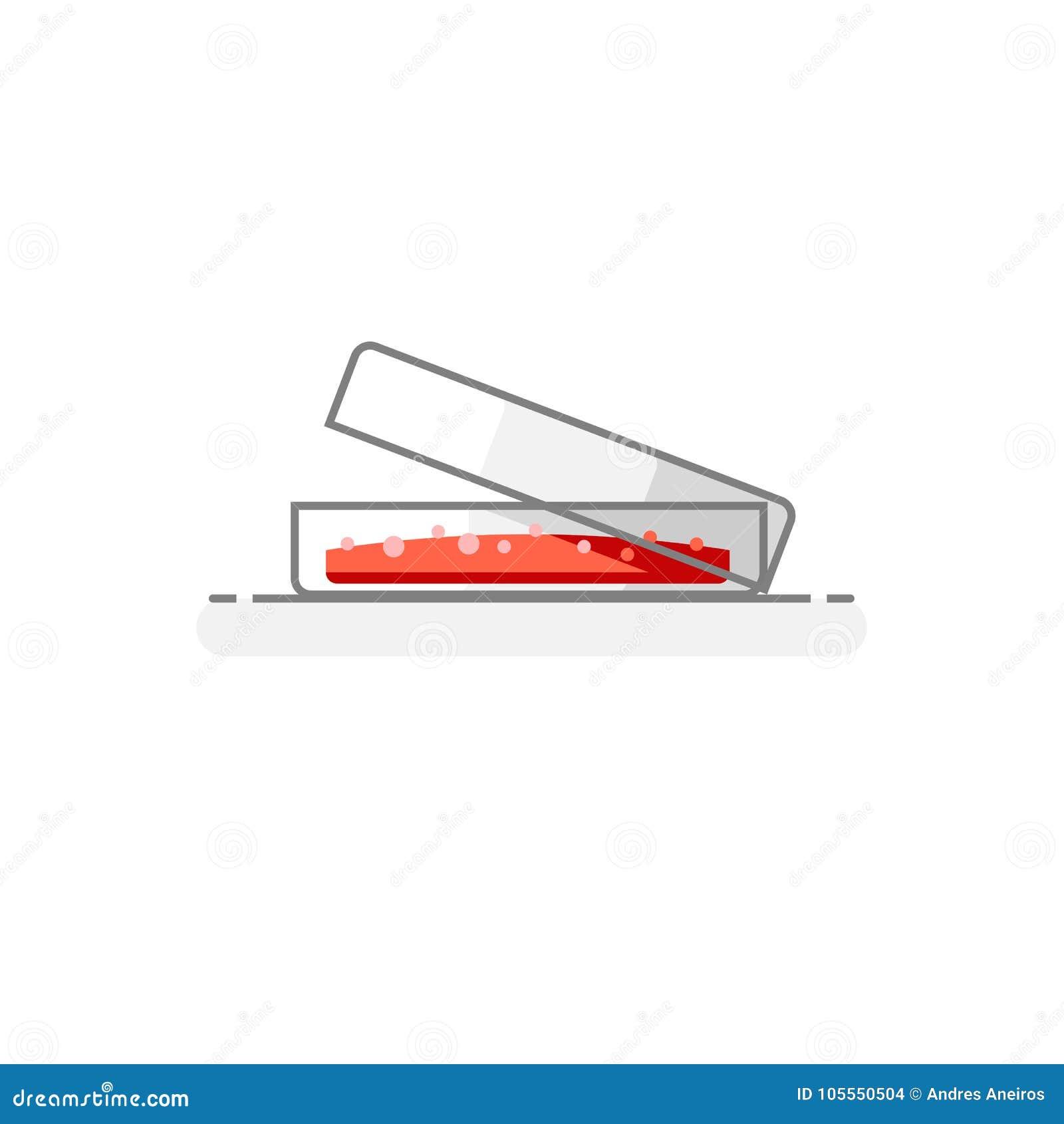 Επιστημονικό Petri πιάτο - εικονίδιο 6 εργαστηριακών γυαλικών επίπεδη έννοια σχεδίου επίσης corel σύρετε το διάνυσμα απεικόνισης