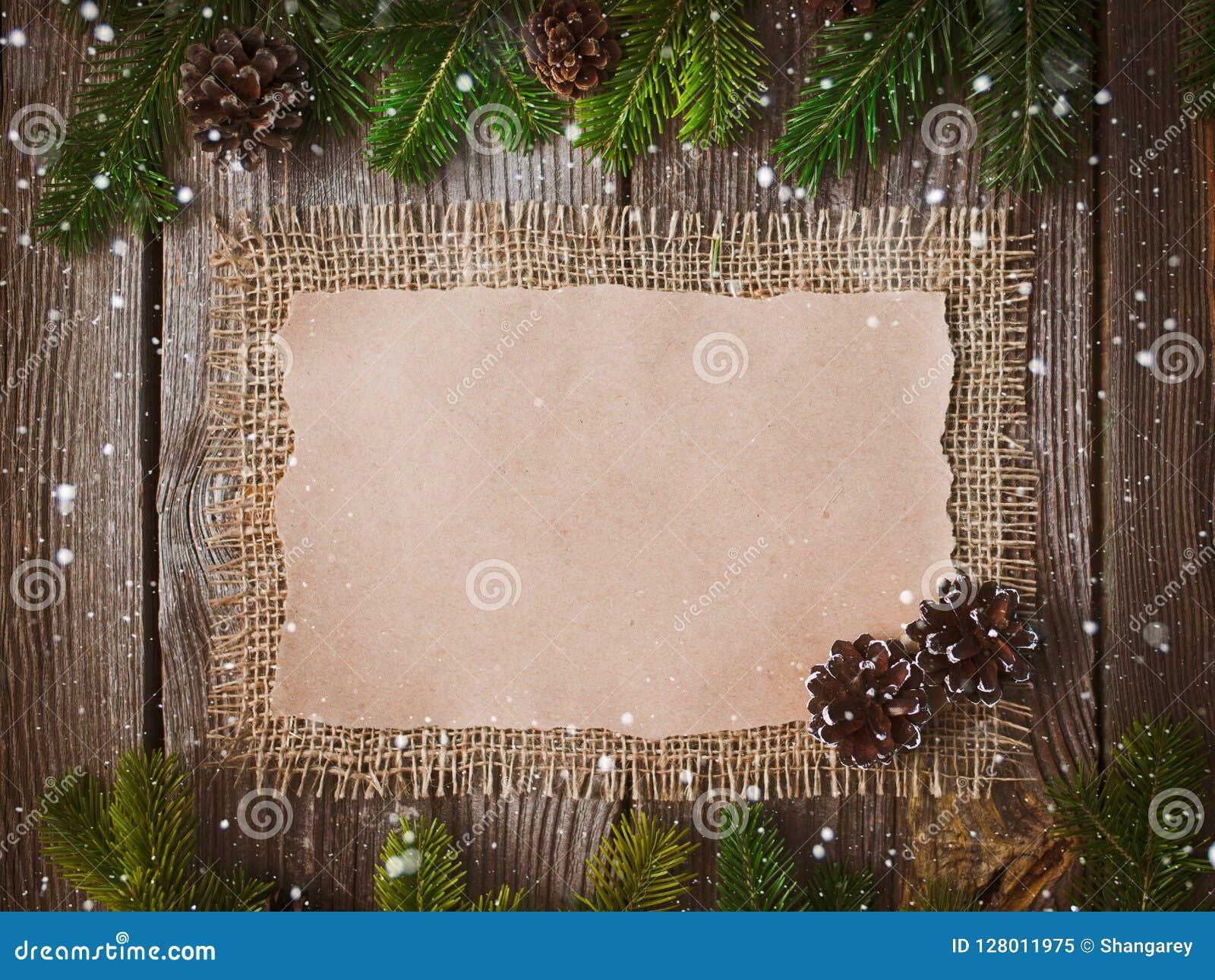 Επιστολή Χριστουγέννων, κατάλογος, συγχαρητήρια σε ένα ξύλινο υπόβαθρο ελεύθερου χώρου, νέο έτος προτύπων