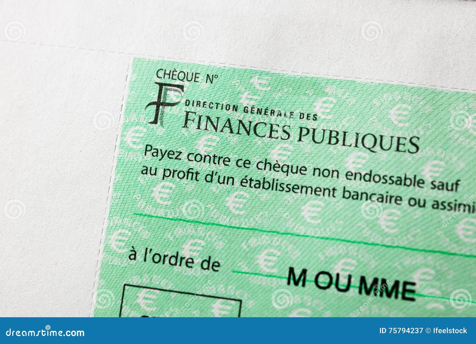 Επιταγή Rench που εκδίδεται από την κατεύθυνση Generale des Finances Publi