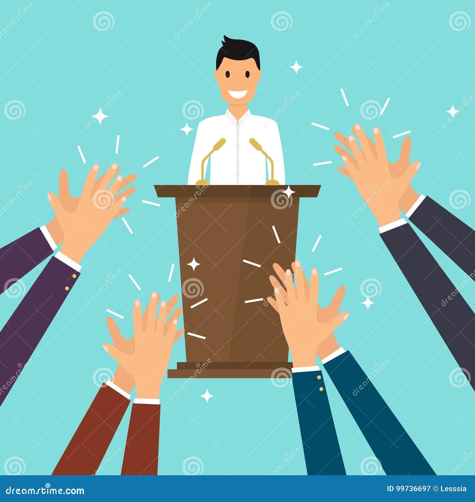 Επιτυχία στην επιχείρηση Άτομο που δίνει μια ομιλία στη σκηνή Ανθρώπινα χέρια γ
