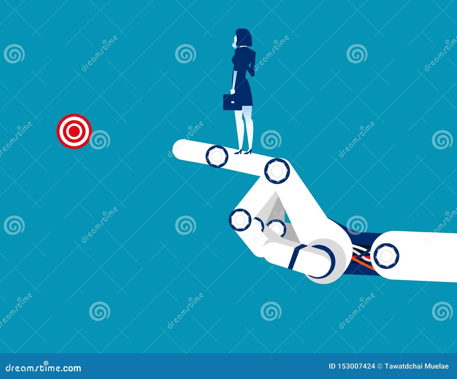 Επιτυχία τεχνολογίας Επιχειρηματίας που στέκεται στο βραχίονα μηχανικό r Επίπεδος χαρακτήρας, κινούμενα σχέδια