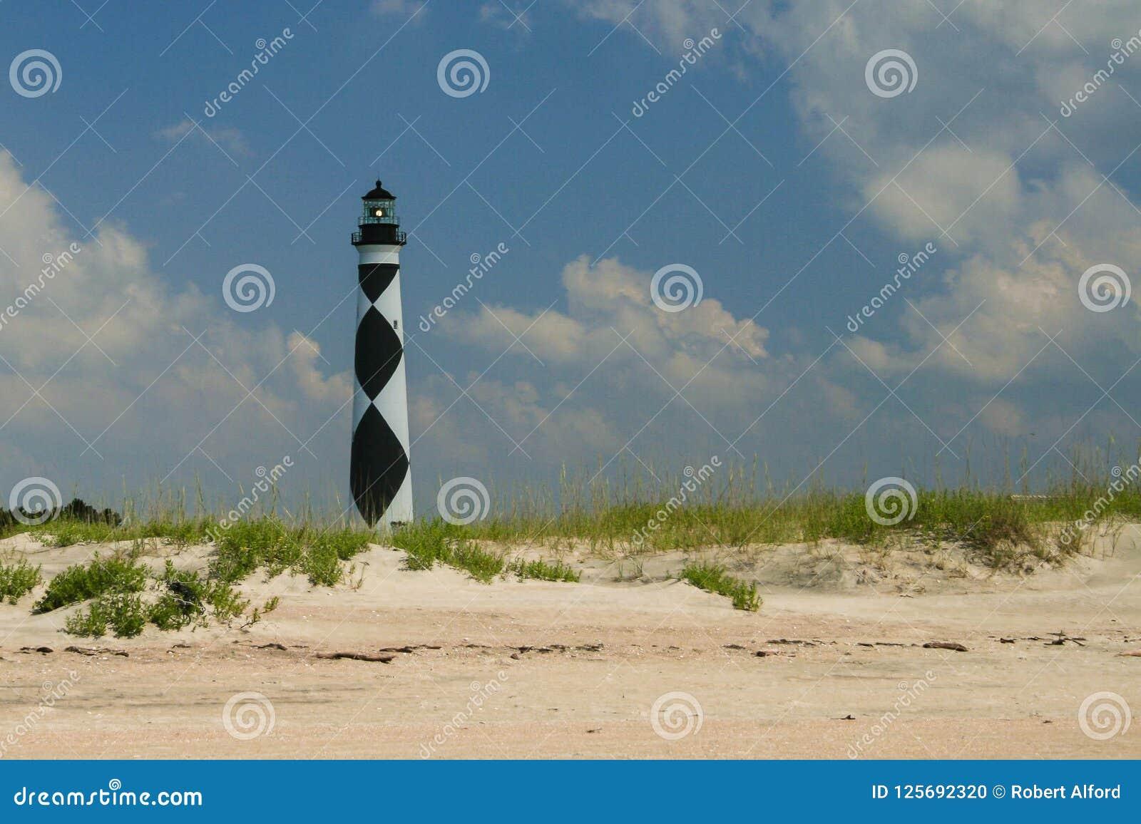 Επιφυλακή ακρωτηρίων, φάρος της βόρειας Καρολίνας από την παραλία σε ένα sunn