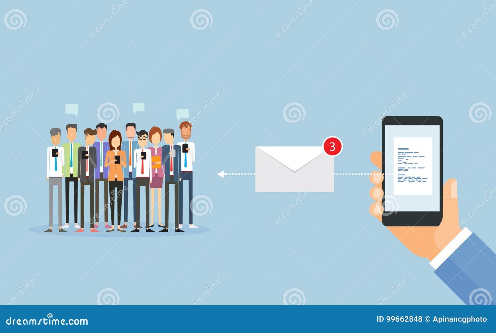 Επιχείρηση που στέλνει το μήνυμα στο κινητό και μάρκετινγκ ηλεκτρονικού ταχυδρομείου