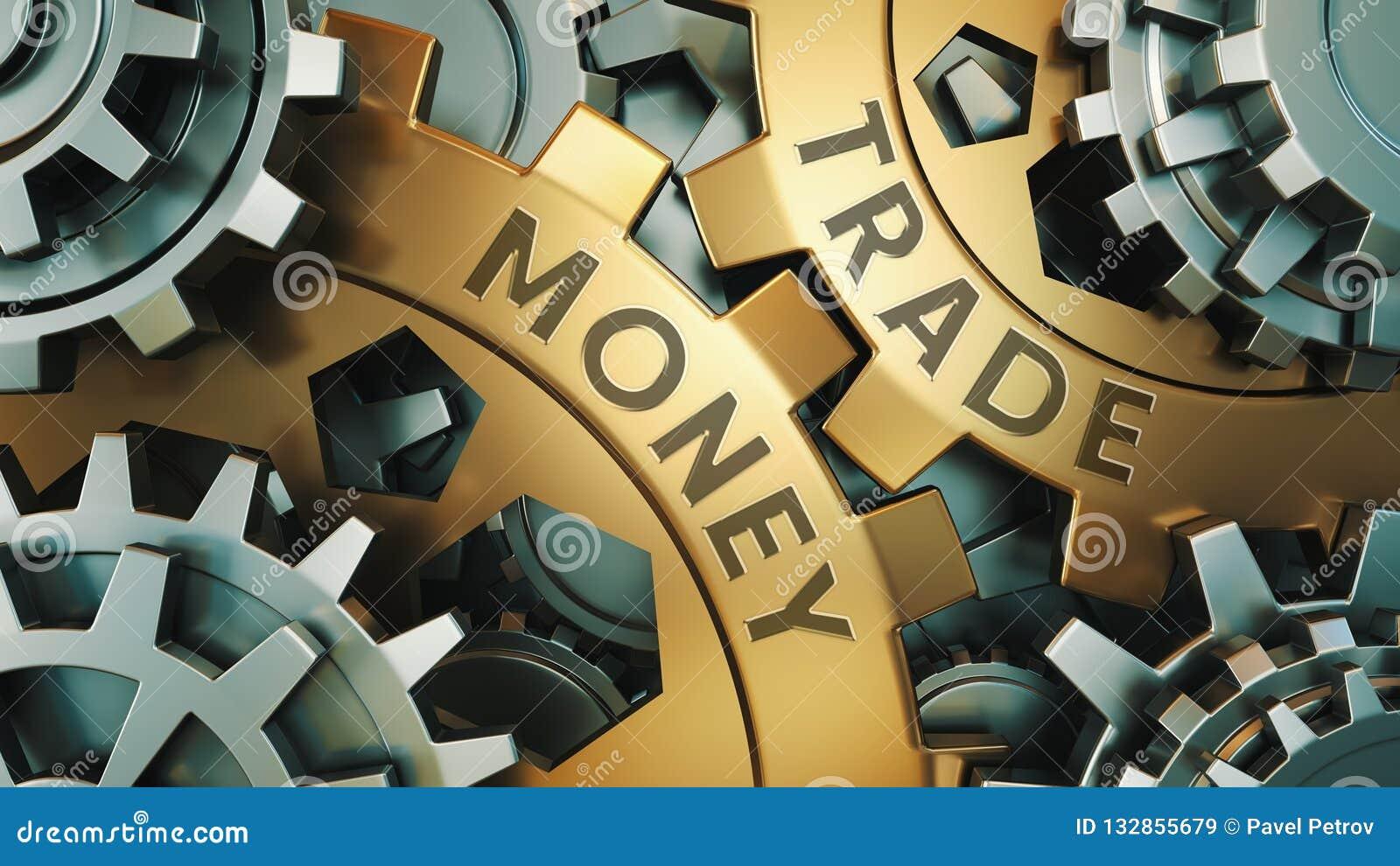 Επιχείρηση, τεχνολογία Εμπορική έννοια χρημάτων Χρυσή και ασημένια απεικόνιση υποβάθρου ροδών εργαλείων τρισδιάστατη απεικόνιση