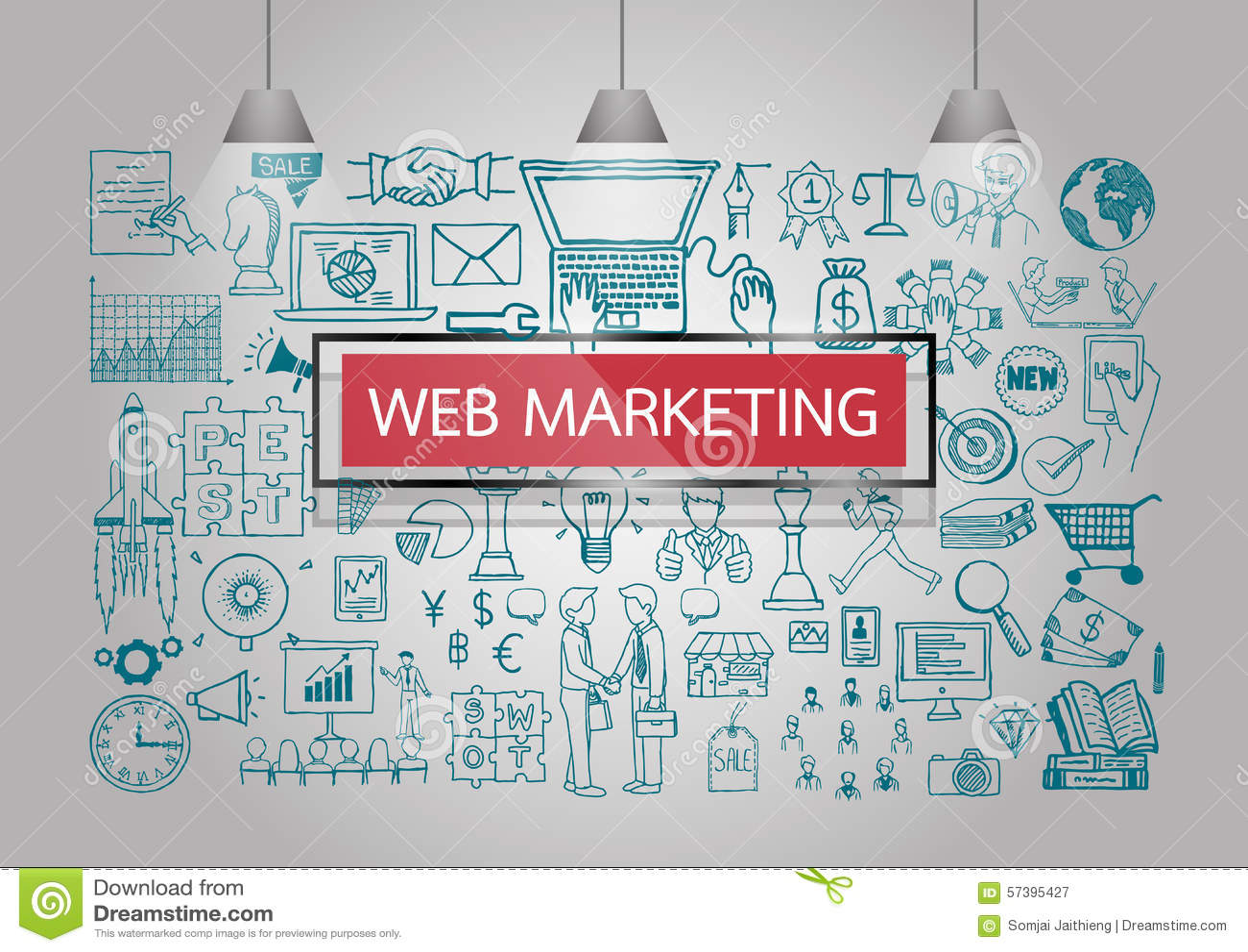 Επιχείρηση doodles για το μάρκετινγκ Ιστού στον τοίχο με το κόκκινους διαφανείς πλαίσιο και τους λαμπτήρες