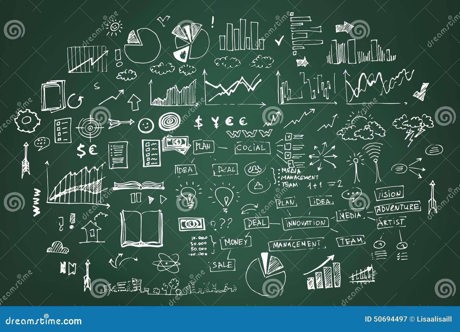 Επιχείρηση doodles σε σκούρο πράσινο