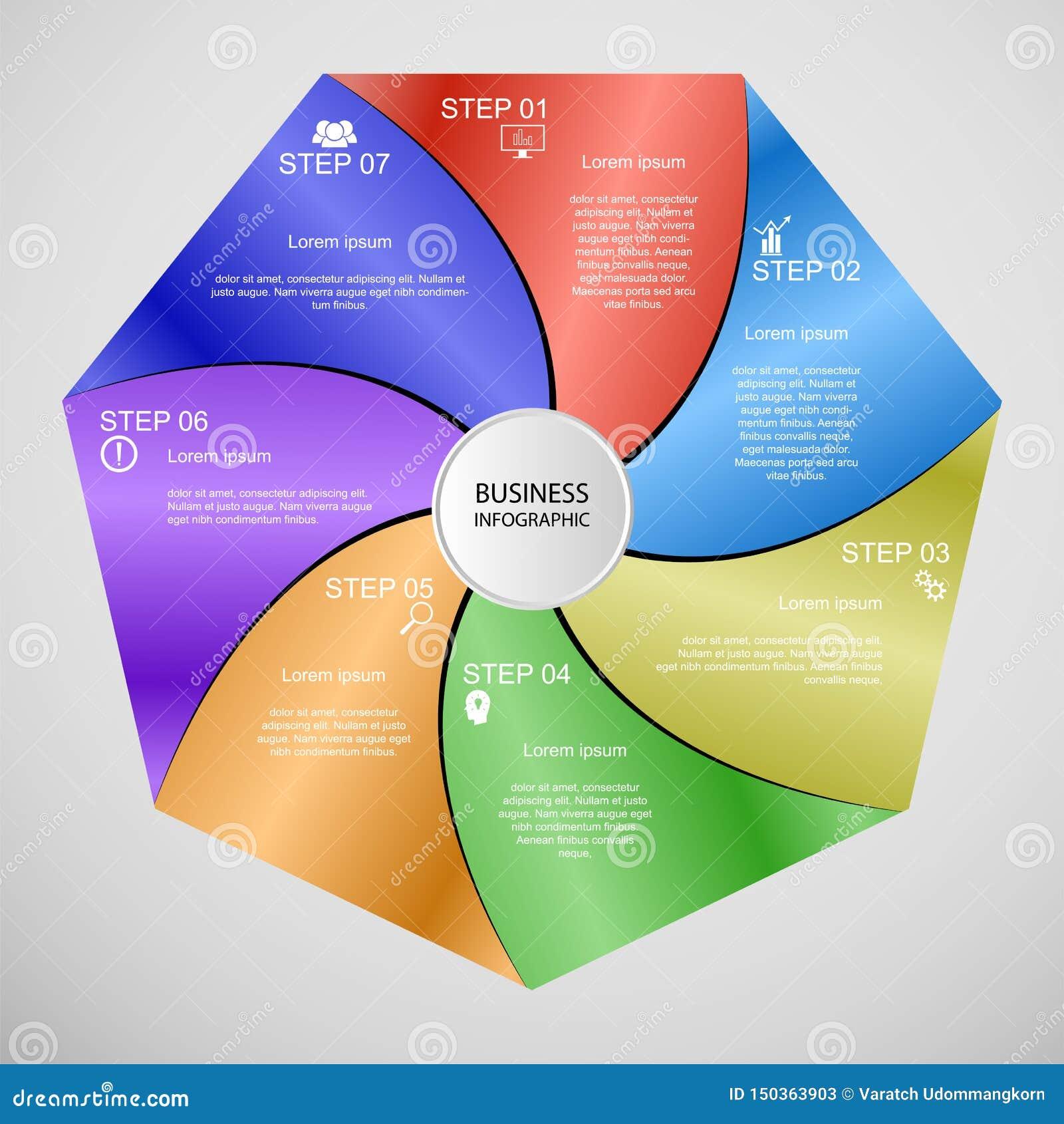 Επιχείρηση InfoGraphics, γεωμετρία, σχέδιο Heptagon, παρουσίαση μάρκετινγκ, έμβλημα τμημάτων