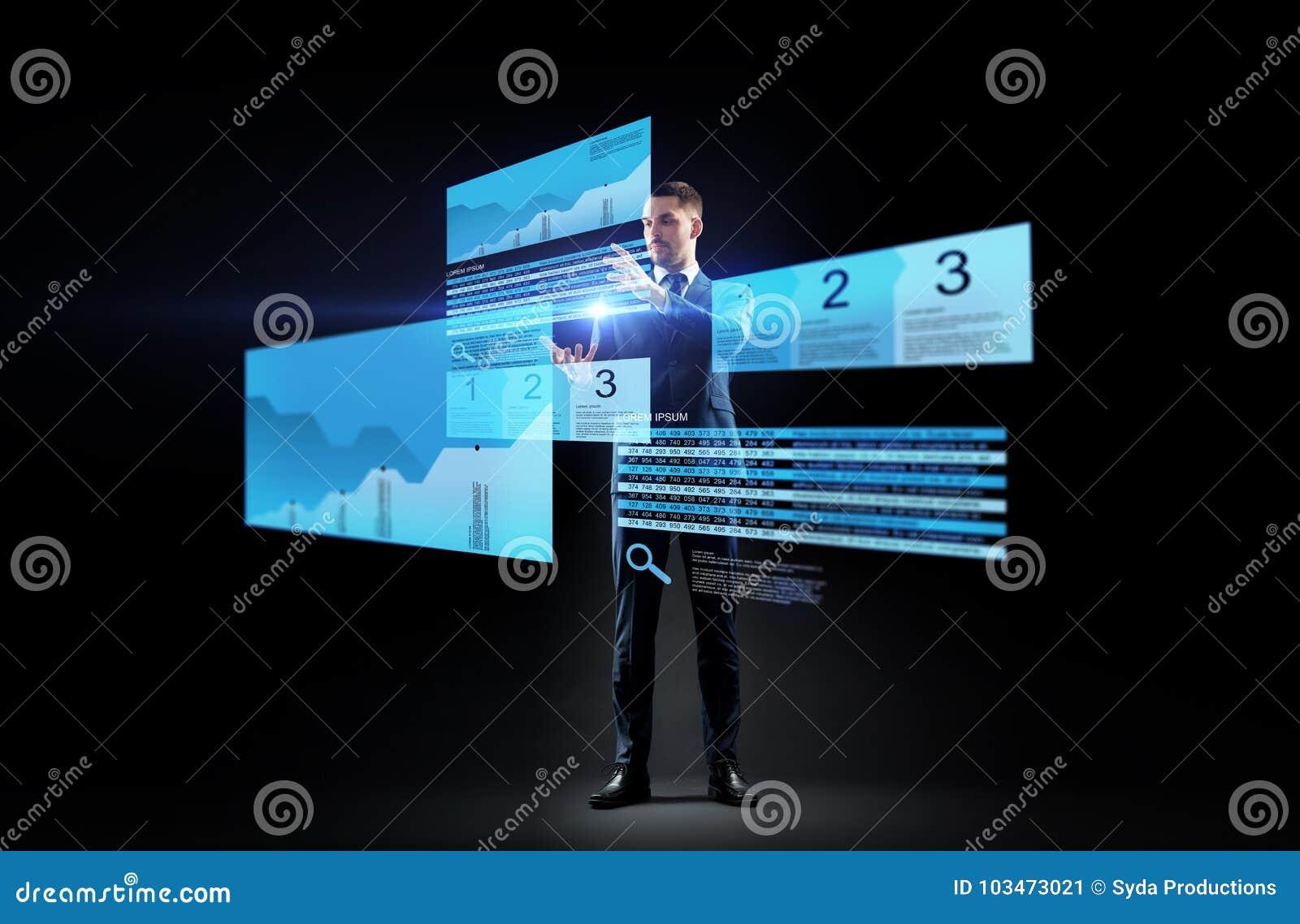 Επιχειρηματίας με τα διαγράμματα αποθεμάτων στις εικονικές οθόνες