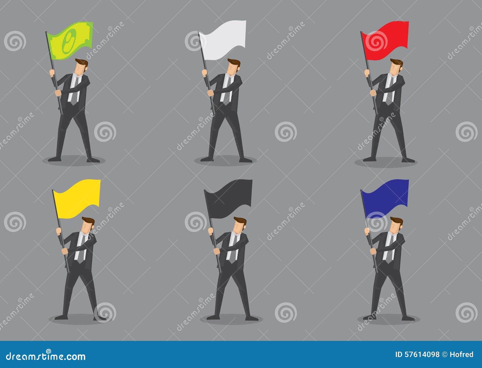 Επιχειρηματίας με τους διανυσματικούς χαρακτήρες σημαιών