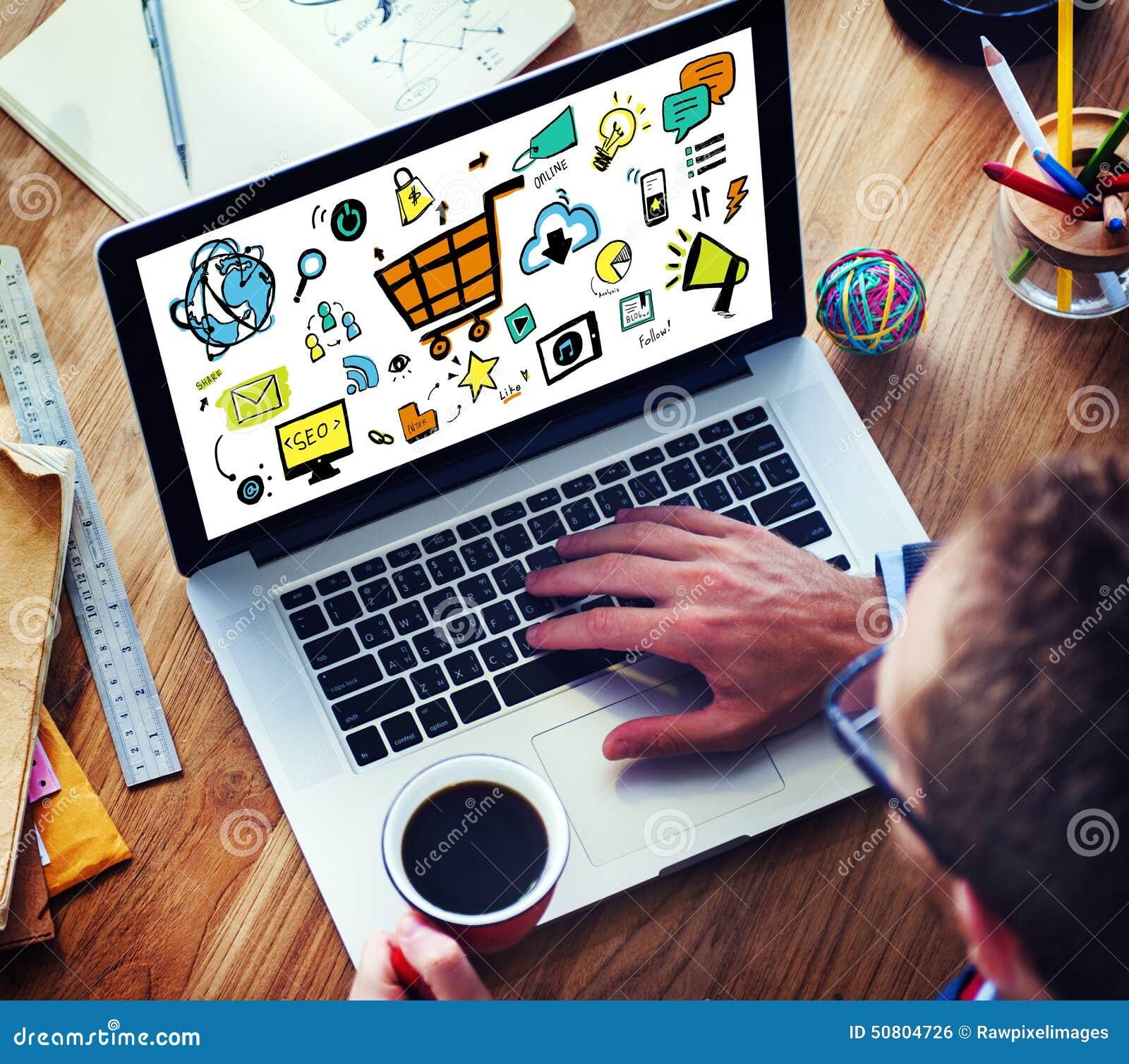 Επιχειρηματίας που εμπορεύεται on-line τις ψηφιακές συσκευές που λειτουργούν την έννοια