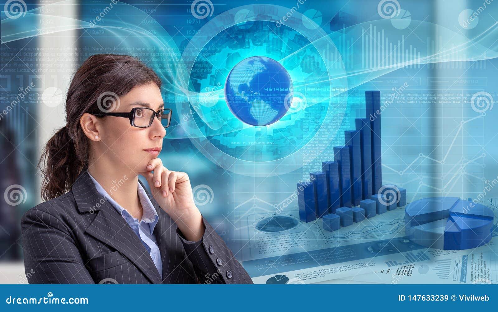 Επιχειρηματίας που εξετάζει τα σφαιρικά οικονομικά διαγράμματα στοιχείων