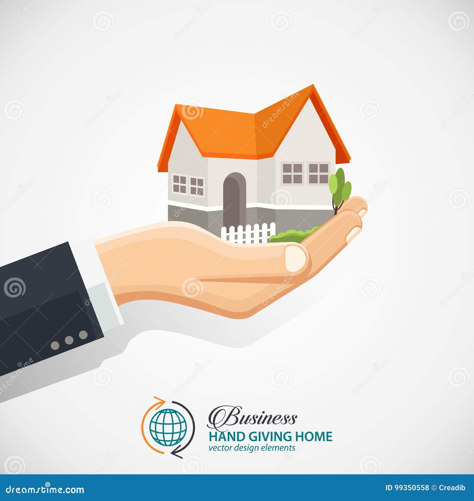 Επιχειρηματίας που κρατά ένα σπίτι Επιχείρηση ακίνητων περιουσιών