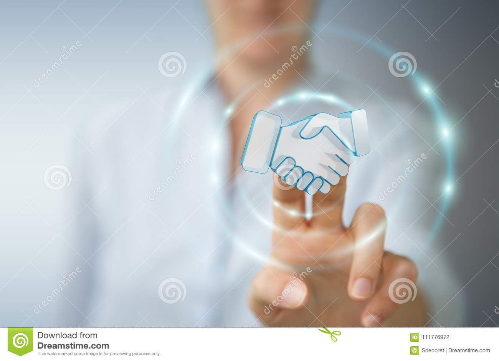 Επιχειρηματίας που ολοκληρώνει μια τρισδιάστατη απόδοση συνεργασίας