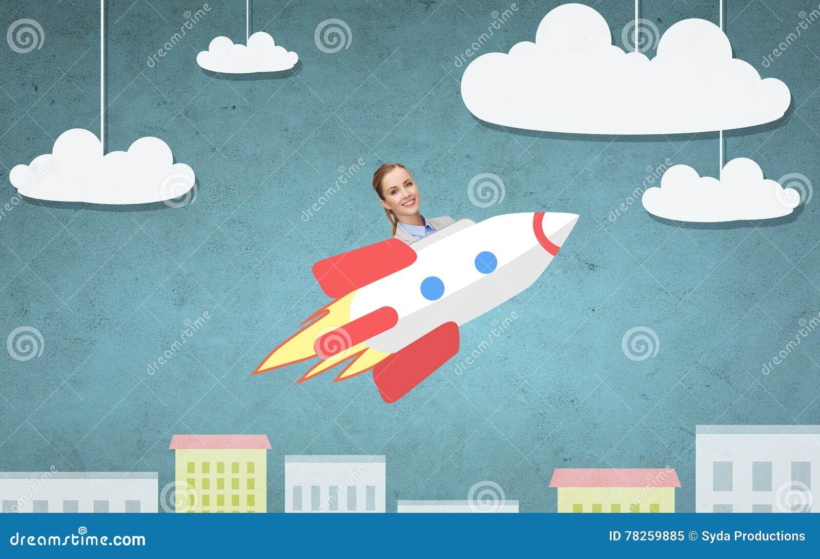 Επιχειρηματίας που πετά στον πύραυλο επάνω από την πόλη κινούμενων σχεδίων