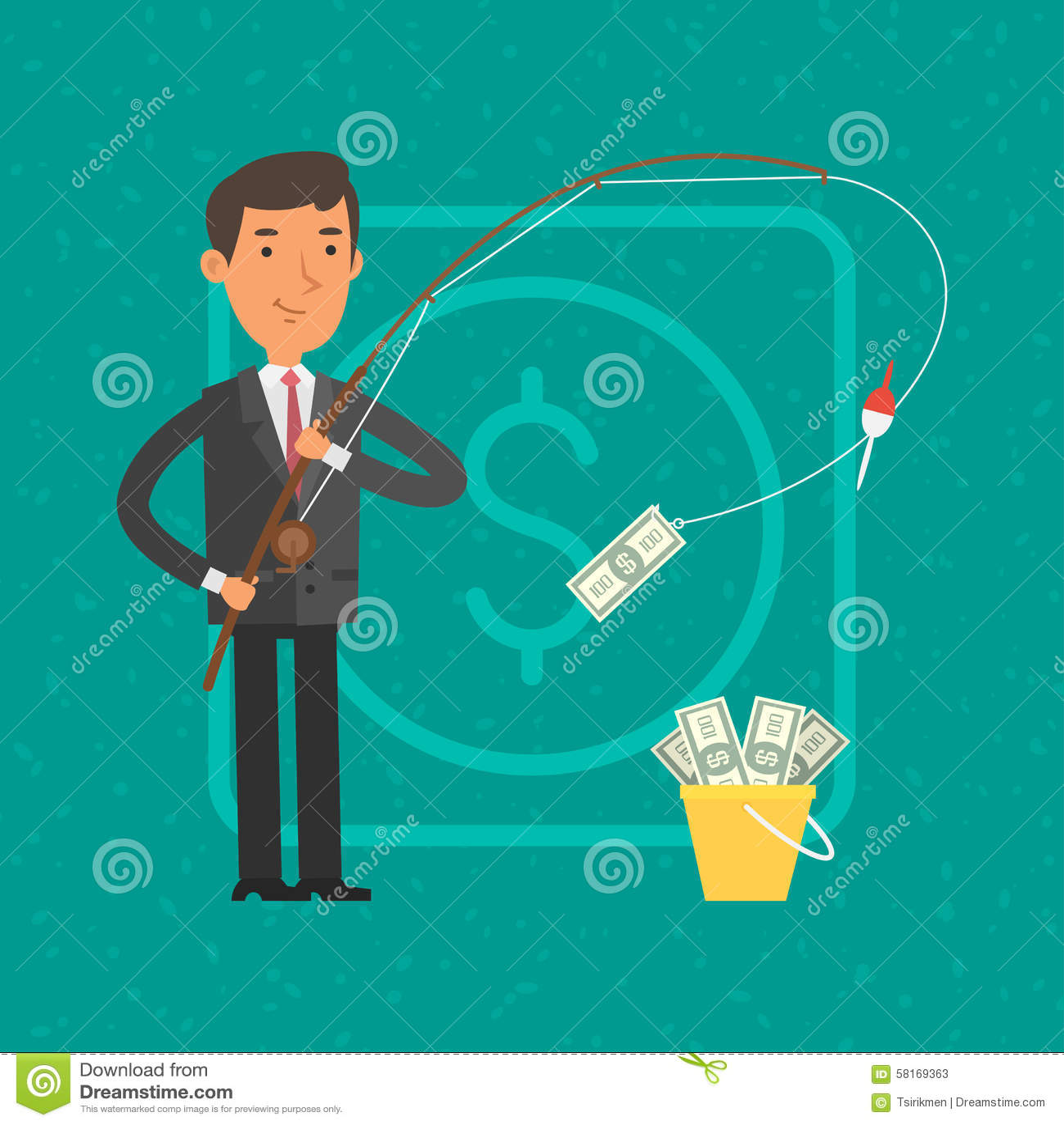 Επιχειρηματίας που πιάνει τα χρήματα στην αλιεία της ράβδου