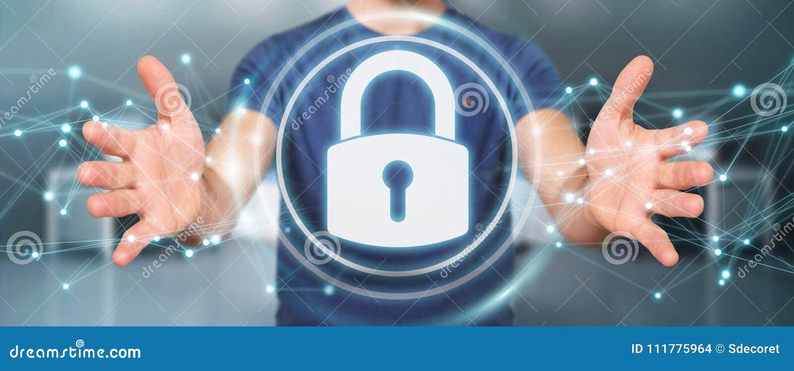 Επιχειρηματίας που προστατεύει τα datas του με το τρισδιάστατο rend διεπαφών ασφάλειας