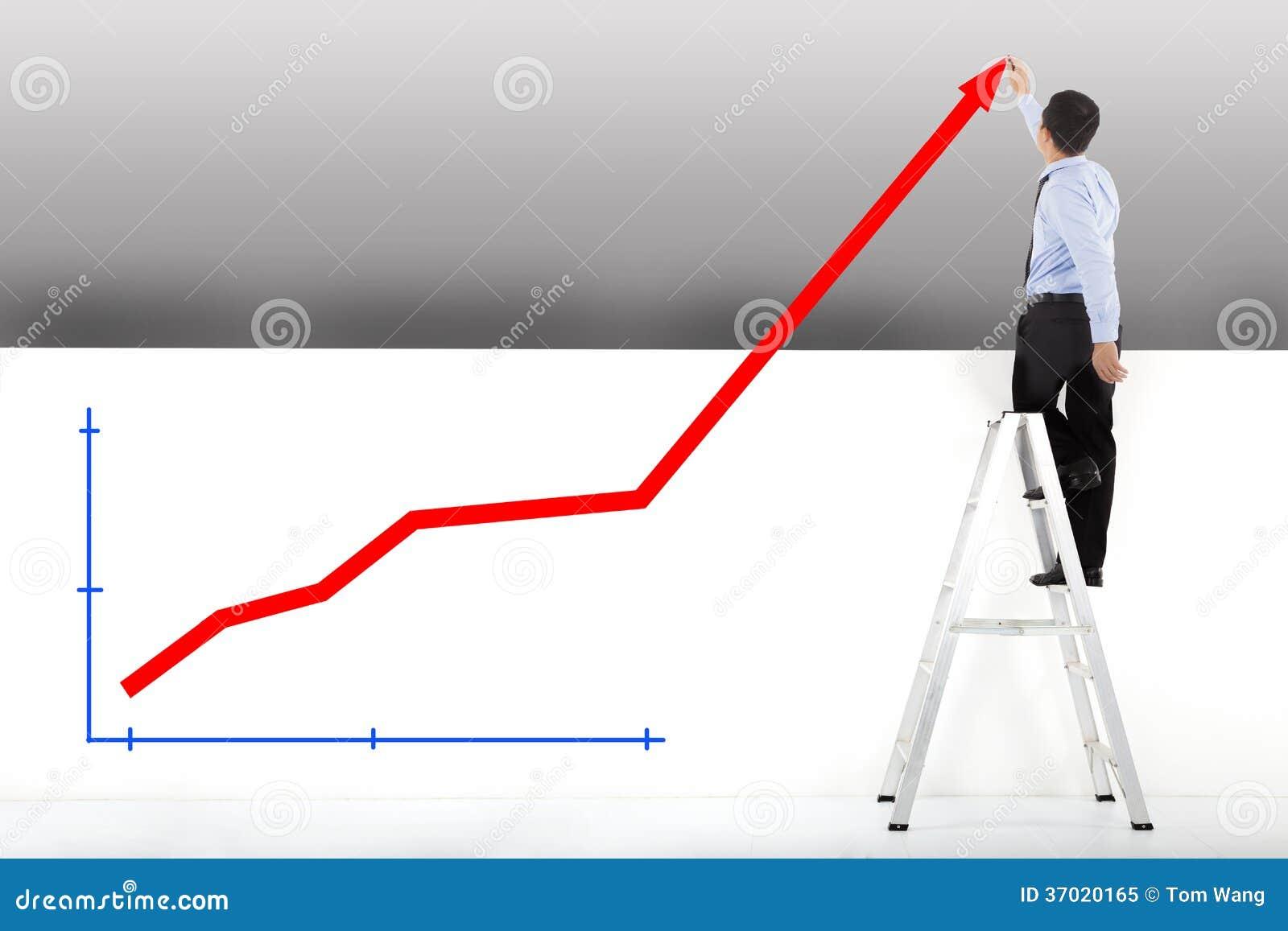 Επιχειρηματίας που στέκεται στα διαγράμματα σχεδίων σκαλών