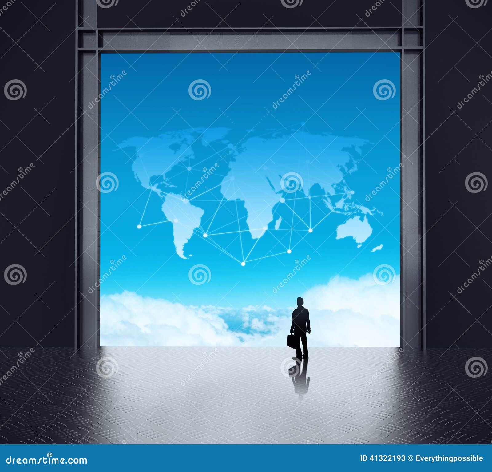 Επιχειρηματίας που στέκεται στο τρισδιάστατο δωμάτιο κεντρικών υπολογιστών δικτύων