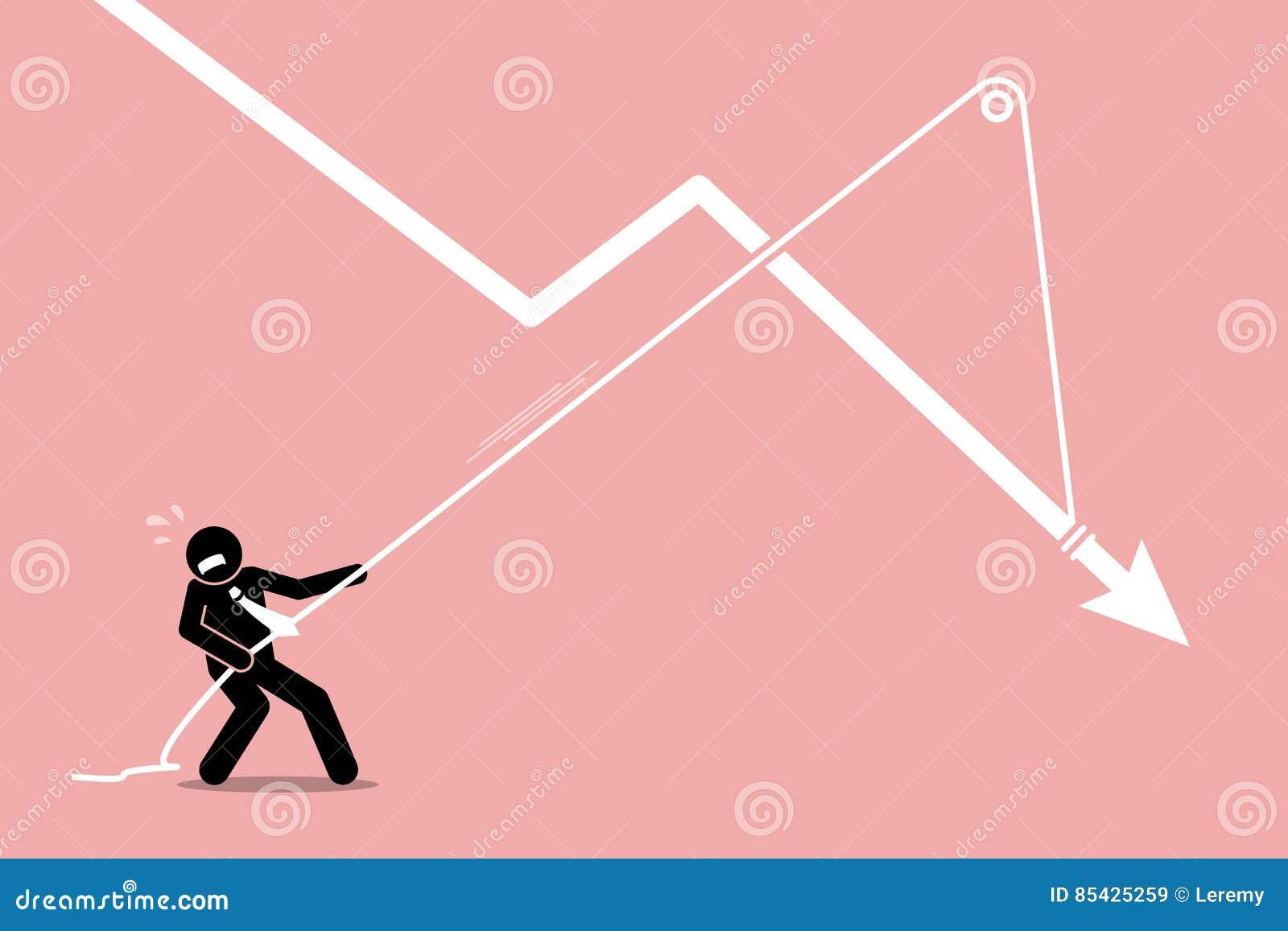 Επιχειρηματίας που τραβά ένα μειωμένο διάγραμμα γραφικών παραστάσεων βελών από την περαιτέρω μείωση κάτω