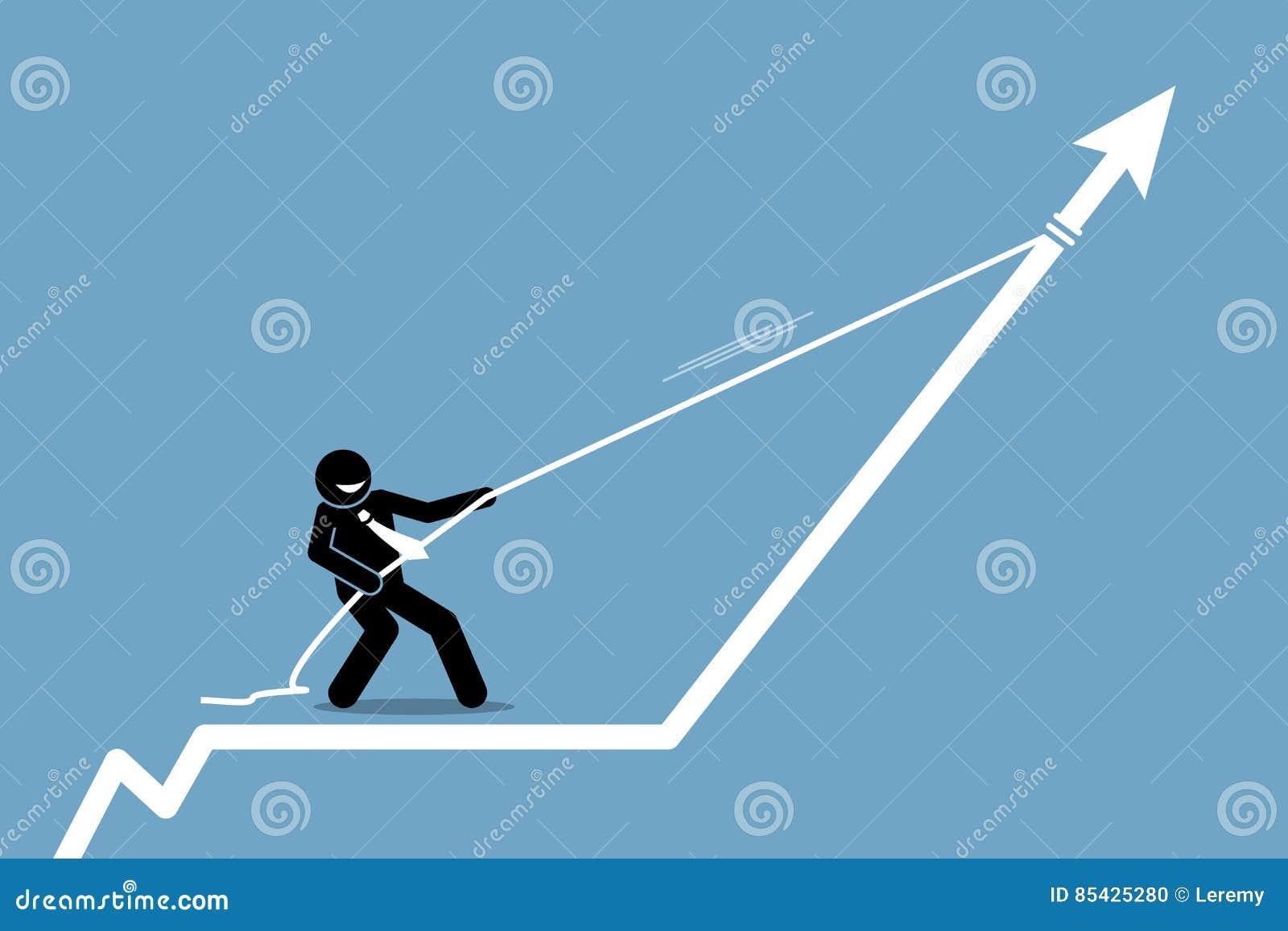 Επιχειρηματίας που τραβά το διάγραμμα γραφικών παραστάσεων βελών επάνω με ένα σχοινί