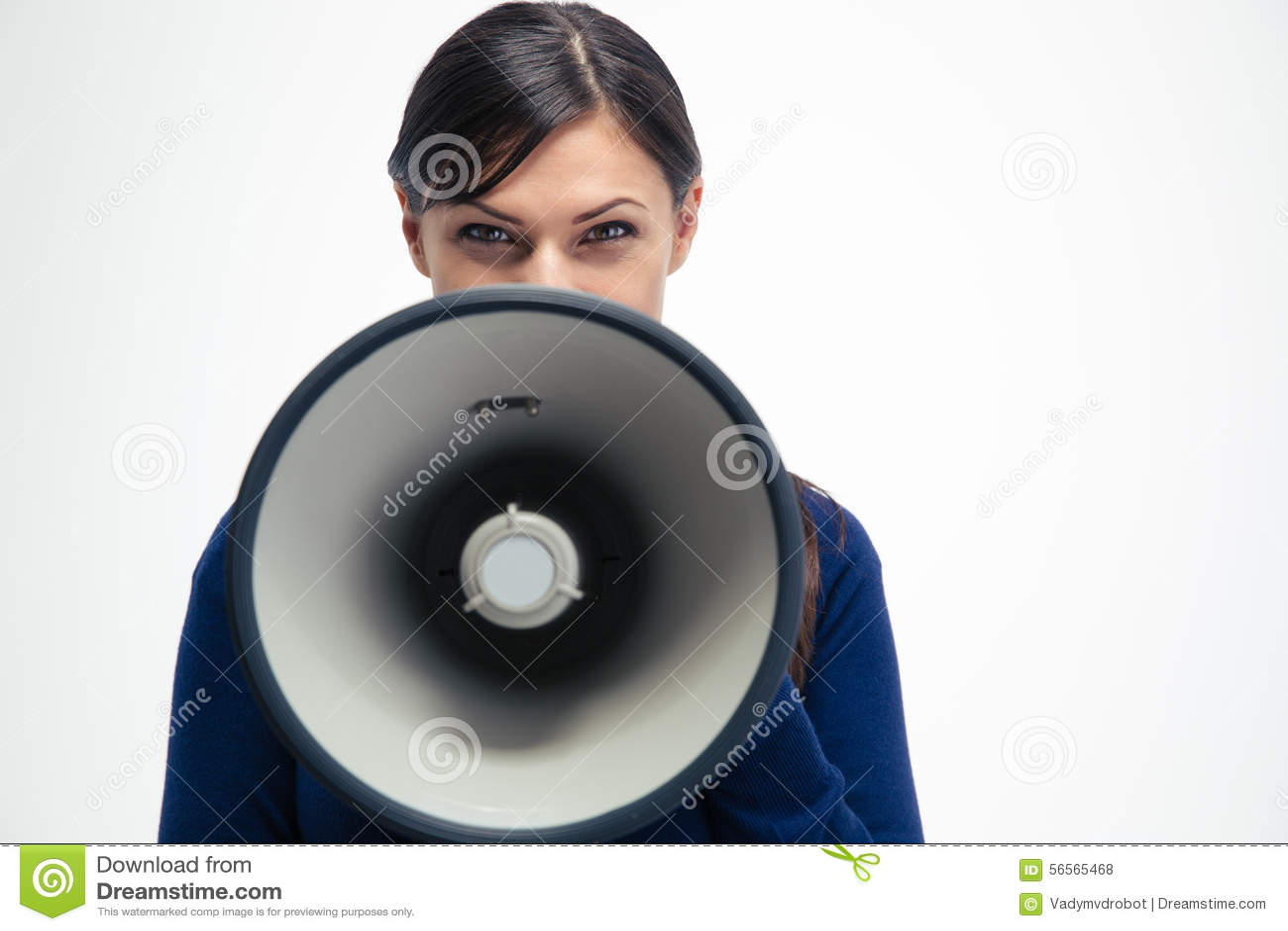 Download Επιχειρηματίας που φωνάζει Megaphone Στοκ Εικόνες - εικόνα από πορτρέτο, closeup: 56565468
