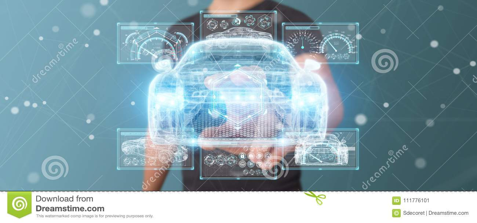 Επιχειρηματίας που χρησιμοποιεί τη σύγχρονη έξυπνη τρισδιάστατη απόδοση διεπαφών αυτοκινήτων