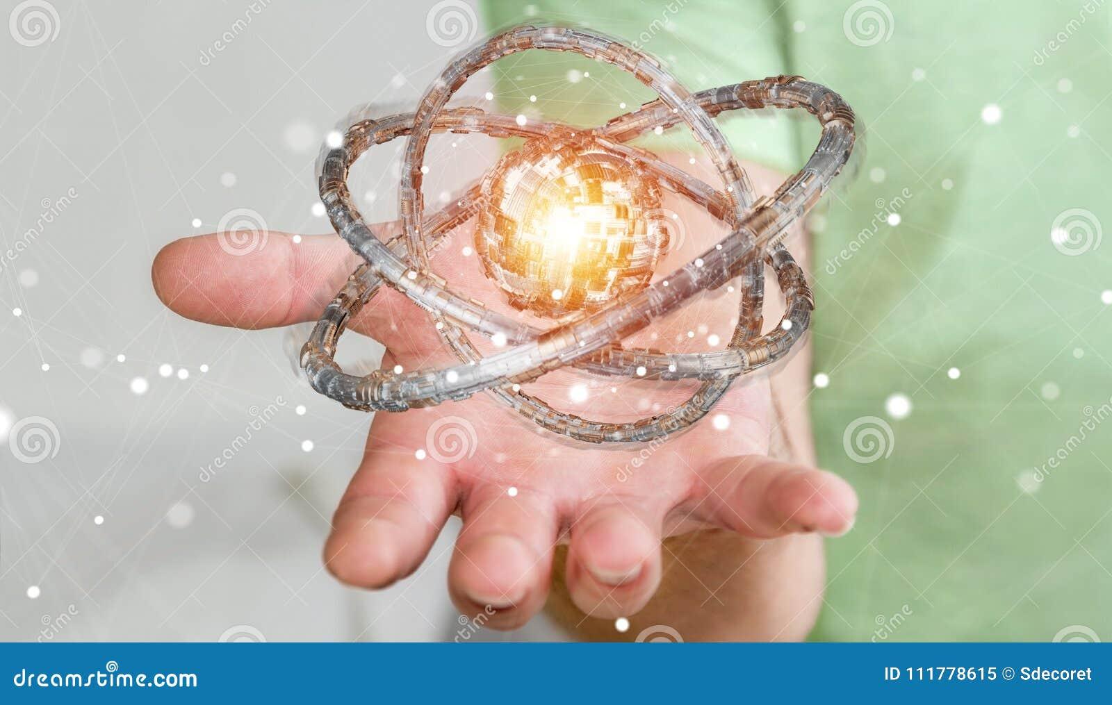 Επιχειρηματίας που χρησιμοποιεί τη φουτουριστική τρισδιάστατη απόδοση αντικειμένου δακτυλίων κατασκευασμένη