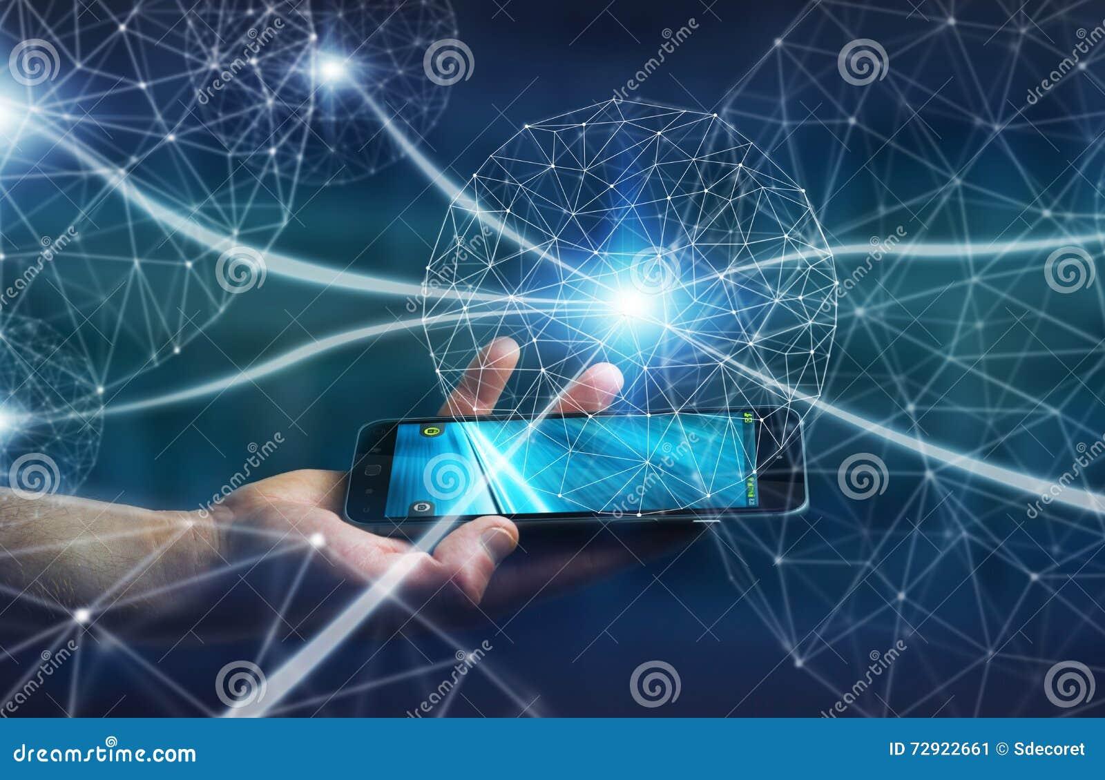 Επιχειρηματίας που χρησιμοποιεί το δίκτυο δεδομένων με το κινητό τηλέφωνό του