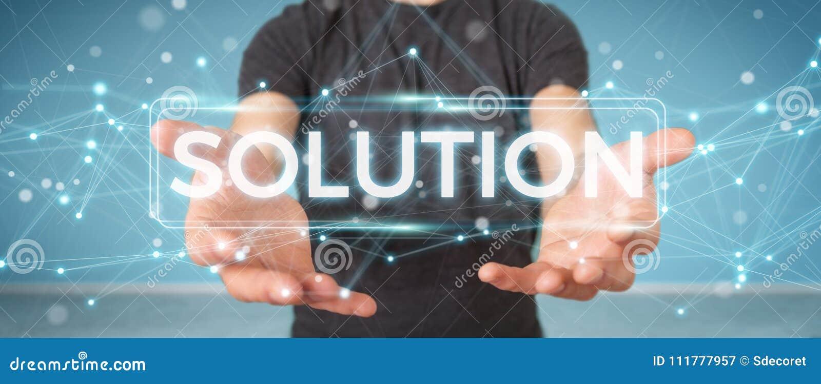 Επιχειρηματίας που χρησιμοποιεί τρισδιάστατη απόδοση κειμένων λύσης την ψηφιακή