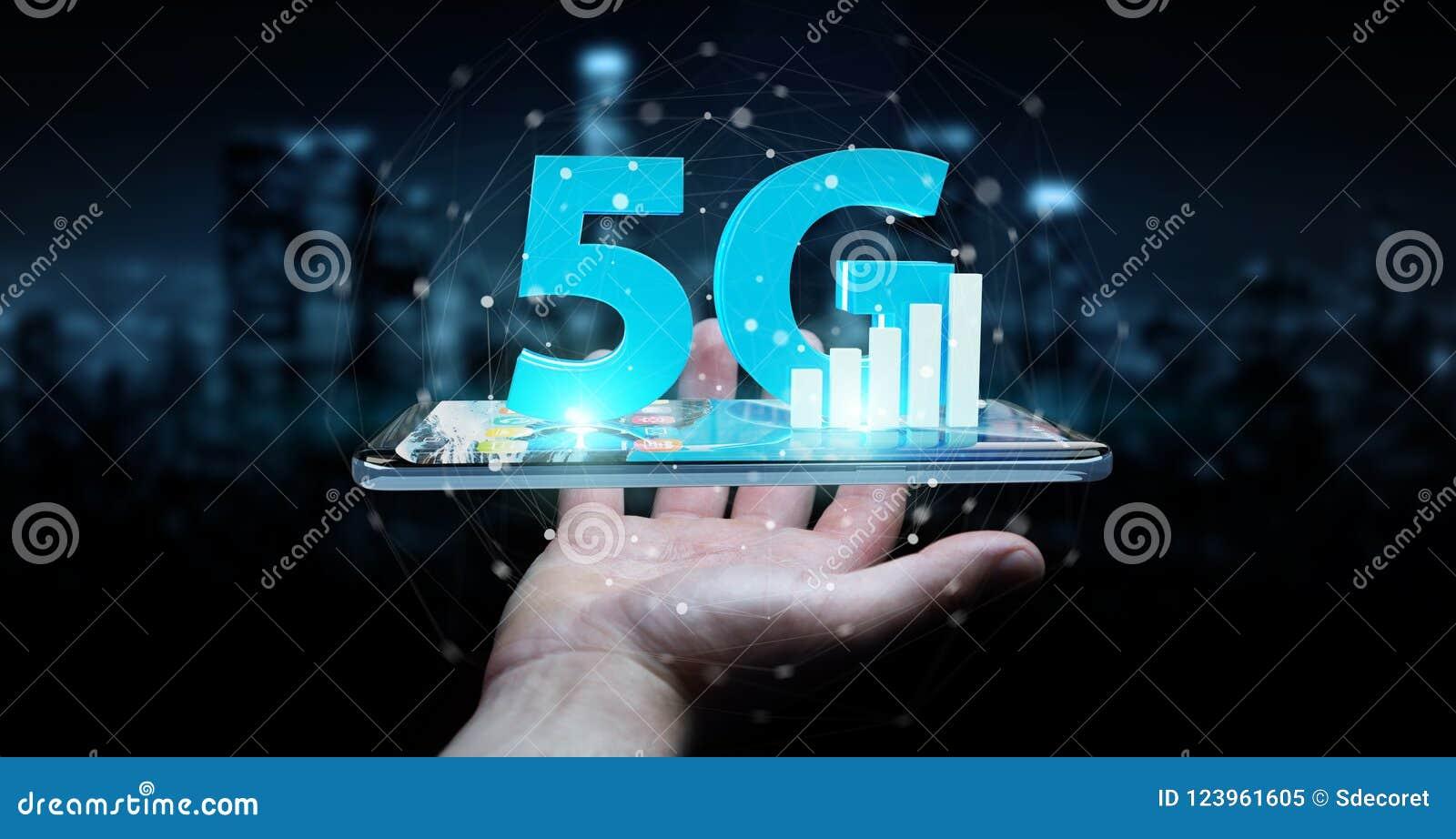 Επιχειρηματίας που χρησιμοποιεί 5G το δίκτυο με την κινητή τηλεφωνική τρισδιάστατη απόδοση