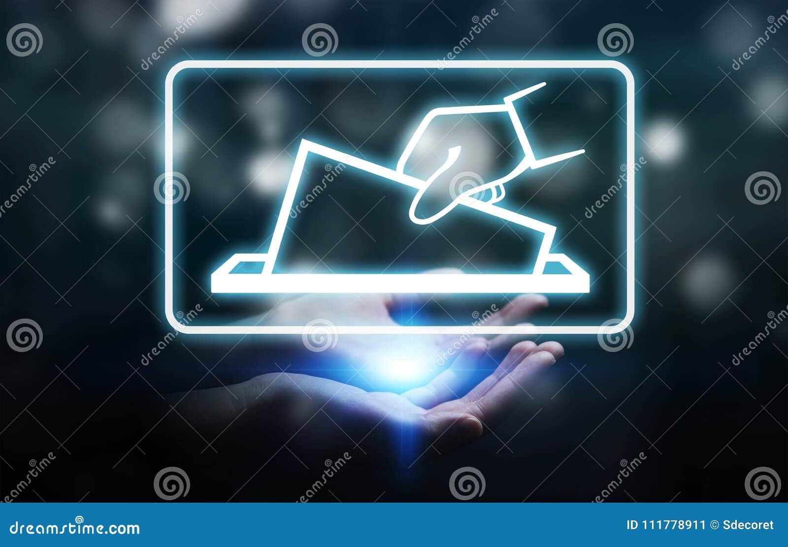 Επιχειρηματίας που ψηφίζει χρησιμοποιώντας την ψηφιακή τρισδιάστατη απόδοση διεπαφών