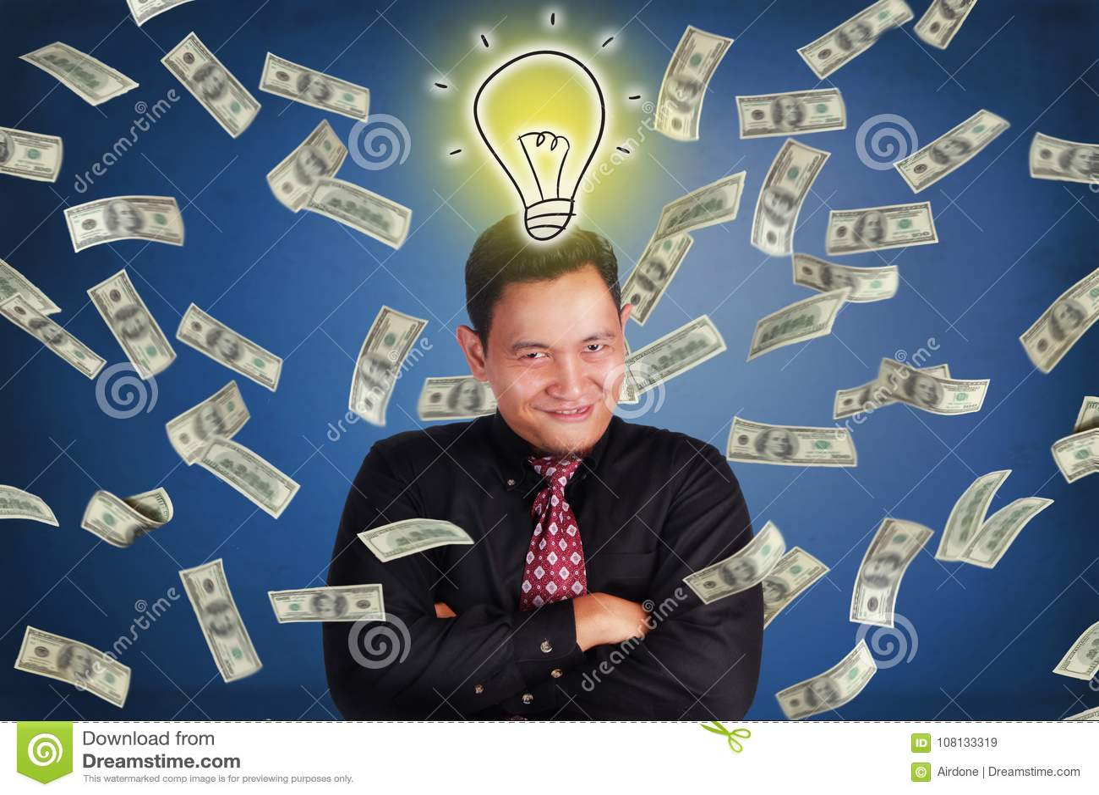 Επιχειρηματίας Succesfull, βροχή χρημάτων πλούτου από την ιδέα