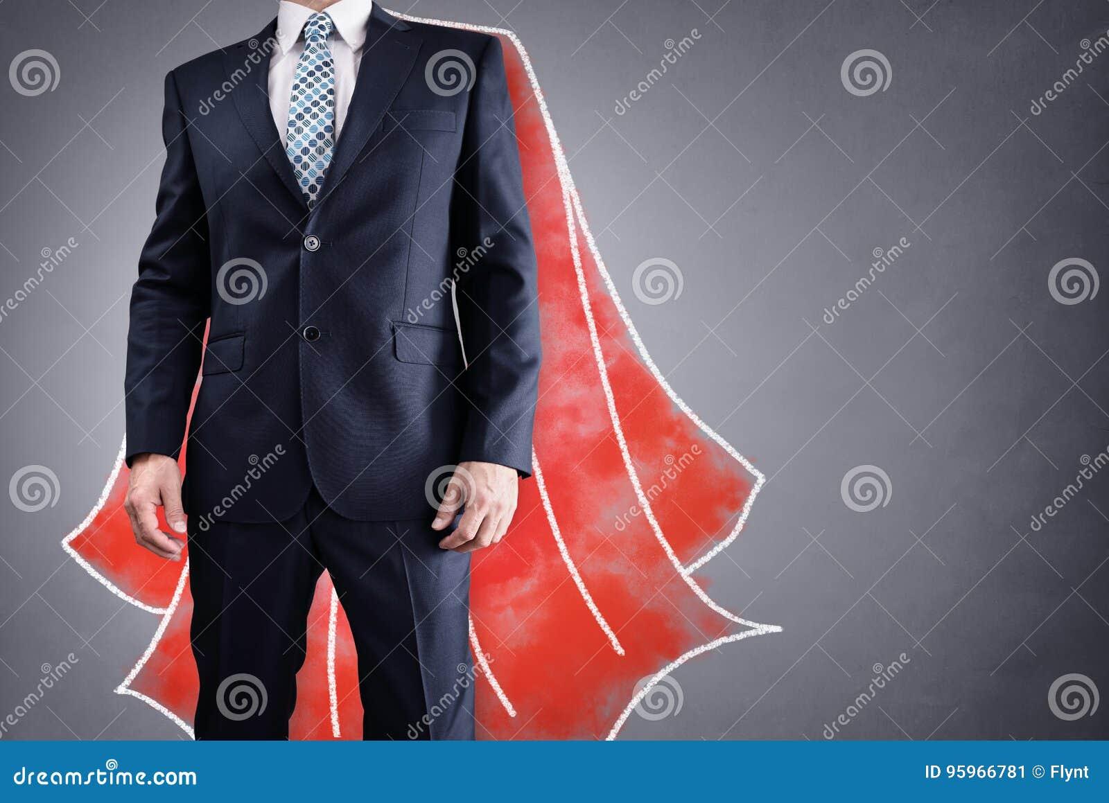 Επιχειρηματίας Superhero με την κόκκινη έννοια ακρωτηρίων για την ηγεσία