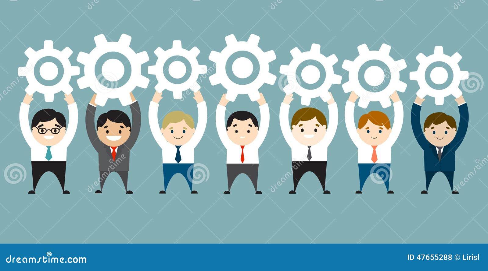 Επιχειρηματίες που κρατούν ψηλά τα άσπρα εργαλεία Σύνδεση, επικοινωνία ομο