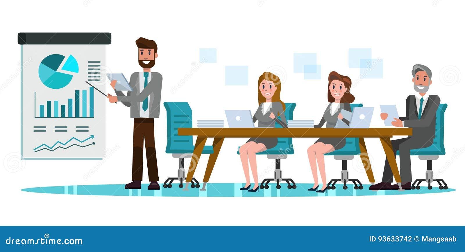 Επιχειρηματίες στην αίθουσα συνεδριάσεων Παρουσίαση επιχειρηματιών του προγράμματος