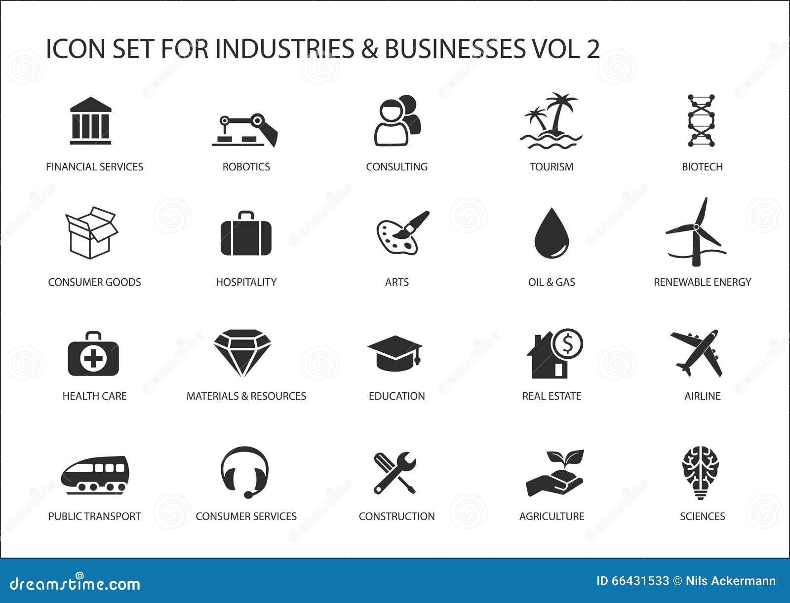 Επιχειρησιακά εικονίδια και σύμβολα των διάφορων βιομηχανιών/των επιχειρηματικών τομέων όπως τη διαβούλευση, τουρισμός, φιλοξενία