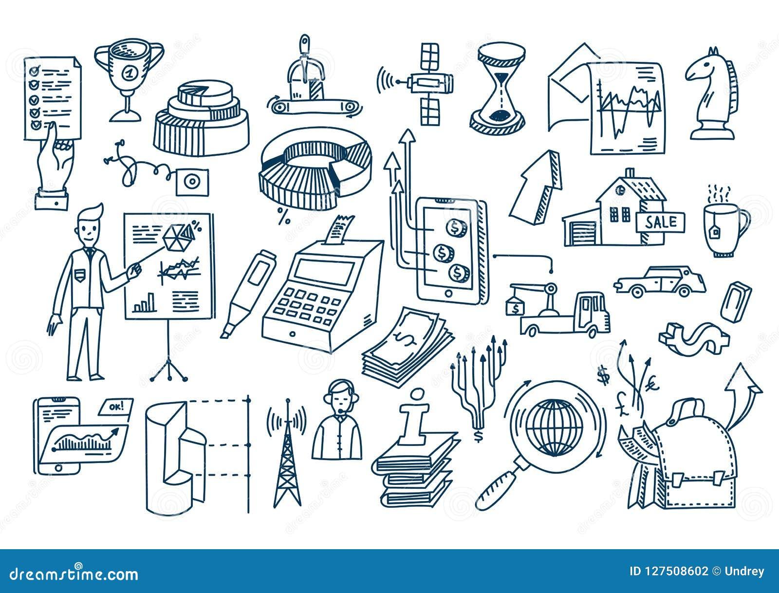 Επιχειρησιακά doodles συρμένα χέρι διανυσματικά στοιχεία και σύμβολα