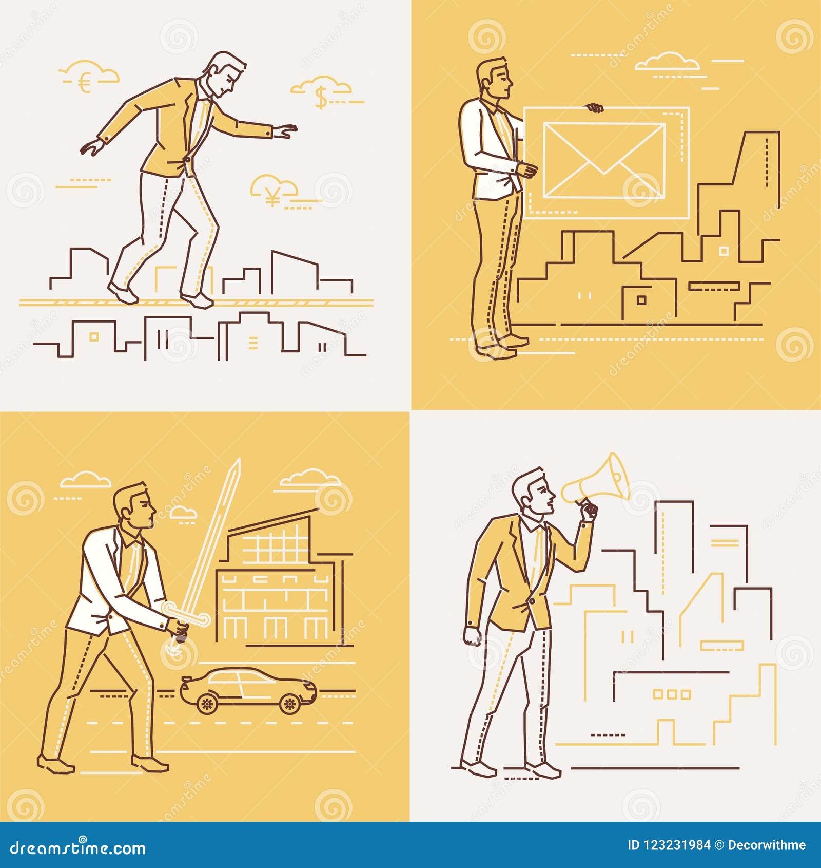 Επιχειρησιακές καταστάσεις - σύνολο απεικονίσεων ύφους σχεδίου γραμμών