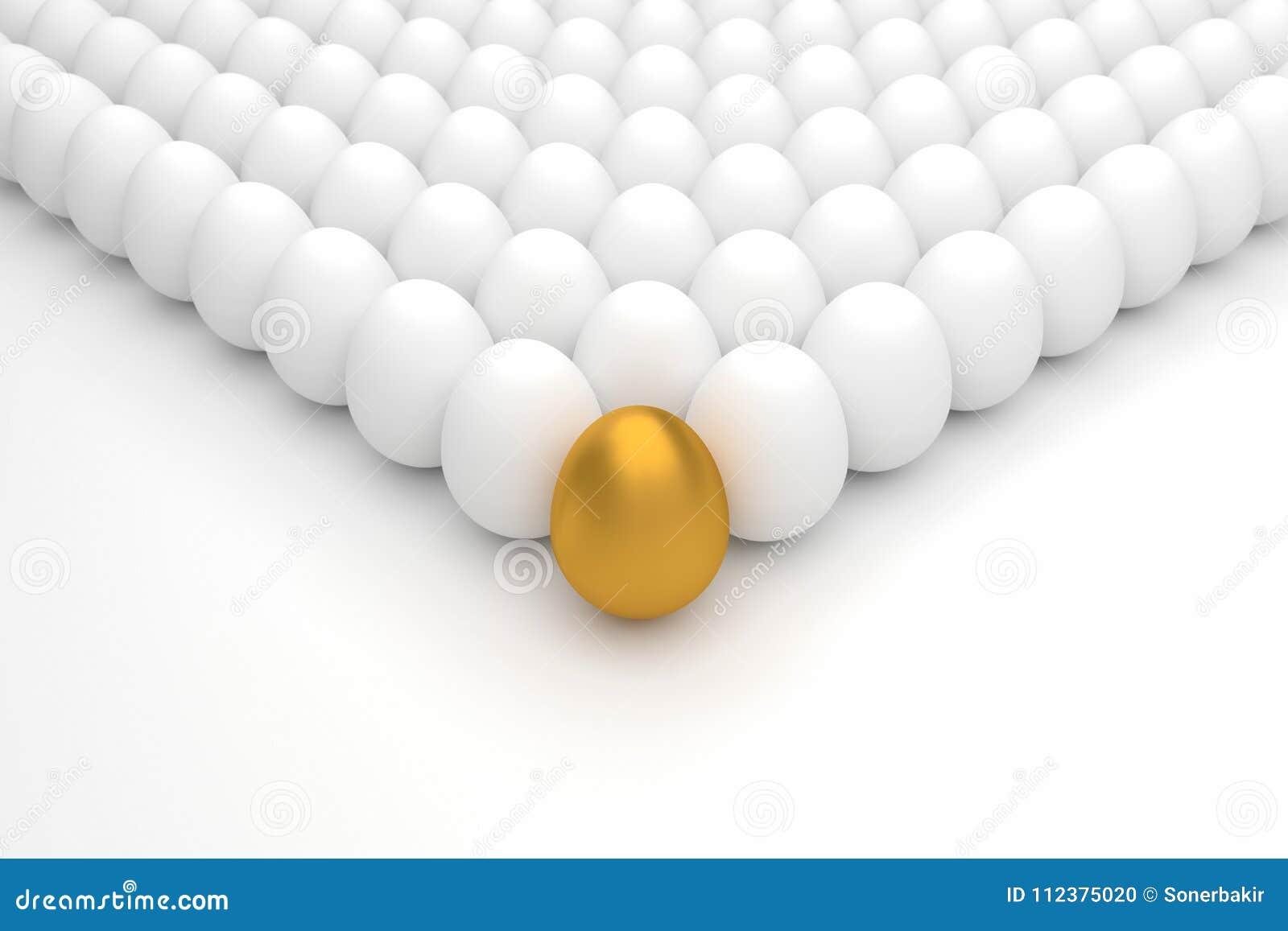 Επιχειρησιακή έννοια με το χρυσό αυγό τρισδιάστατη απόδοση