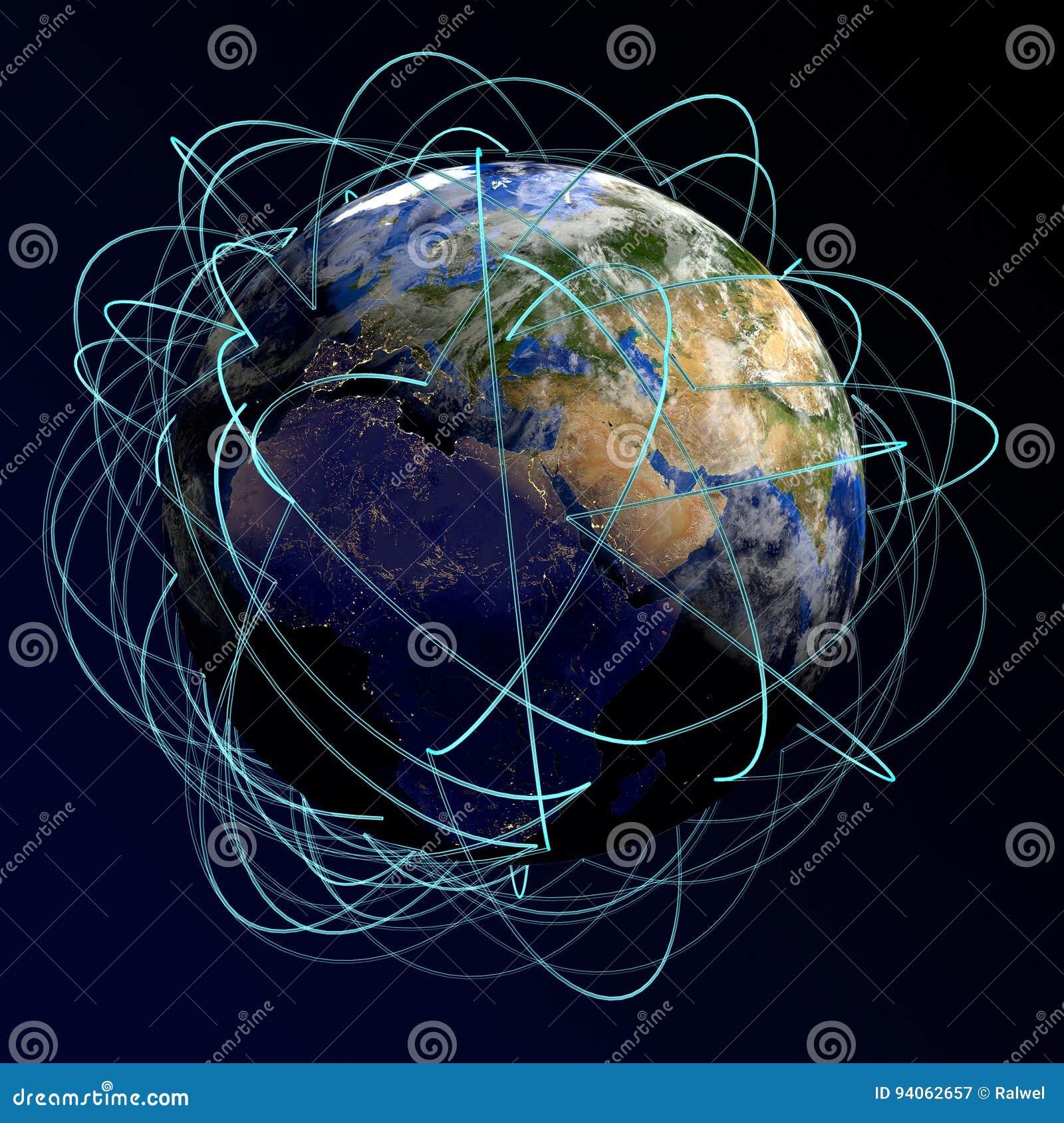 επιχειρησιακή έννοια σφα& Κύριες διαδρομές αέρα στην Ευρώπη, Αφρική, Ασία τρισδιάστατος δώστε