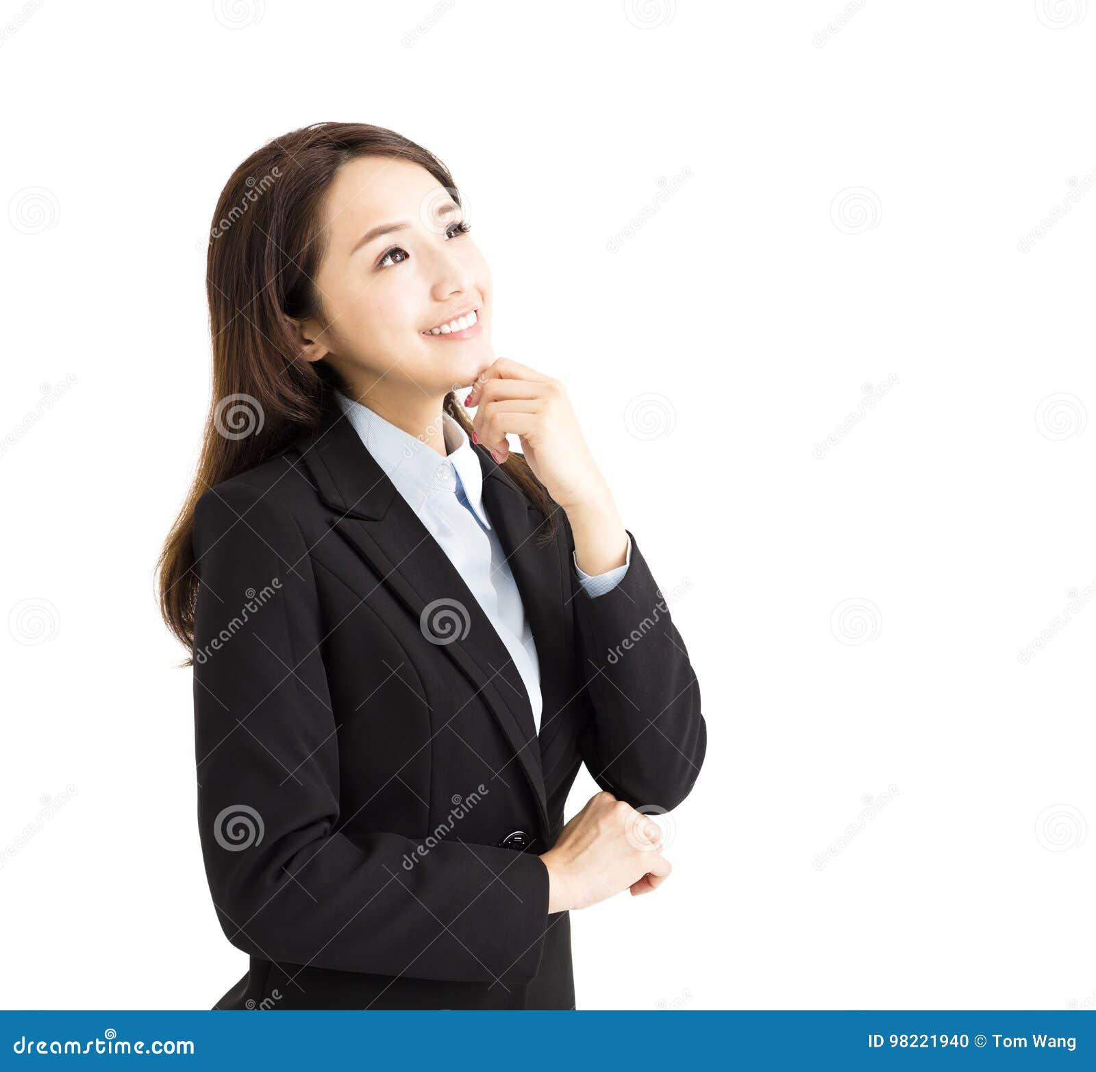 Επιχειρησιακή γυναίκα που σκέφτεται και που ανατρέχει