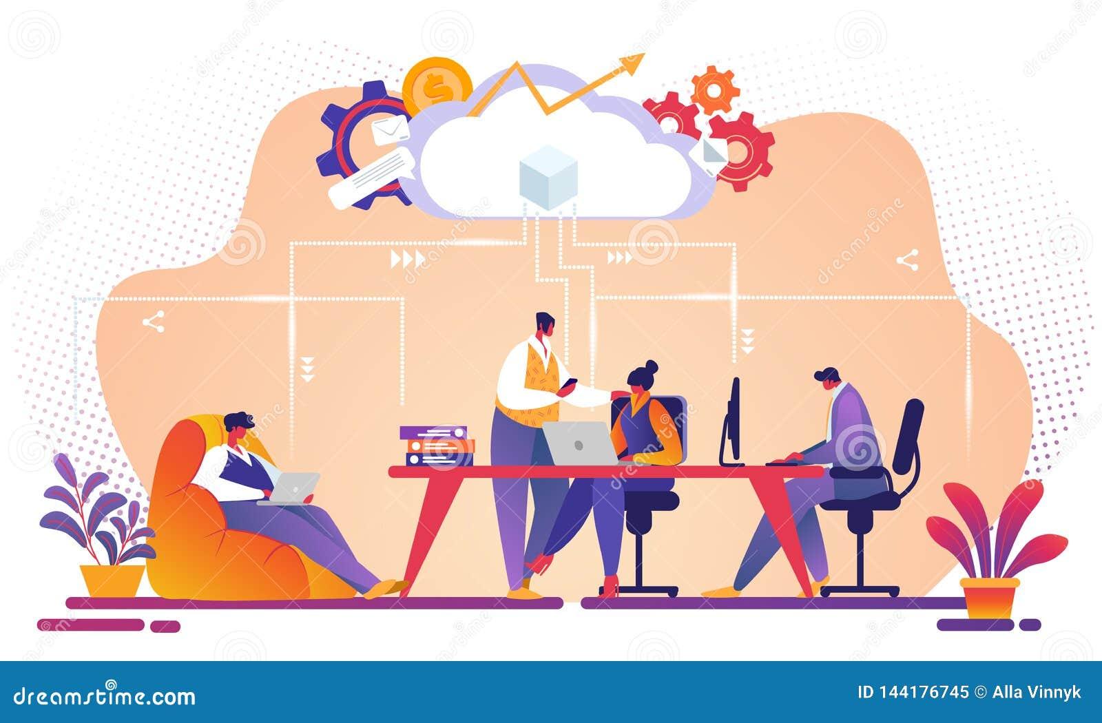 Επιχειρησιακή ομάδα που εργάζεται μαζί χρησιμοποιώντας την υπηρεσία σύννεφων