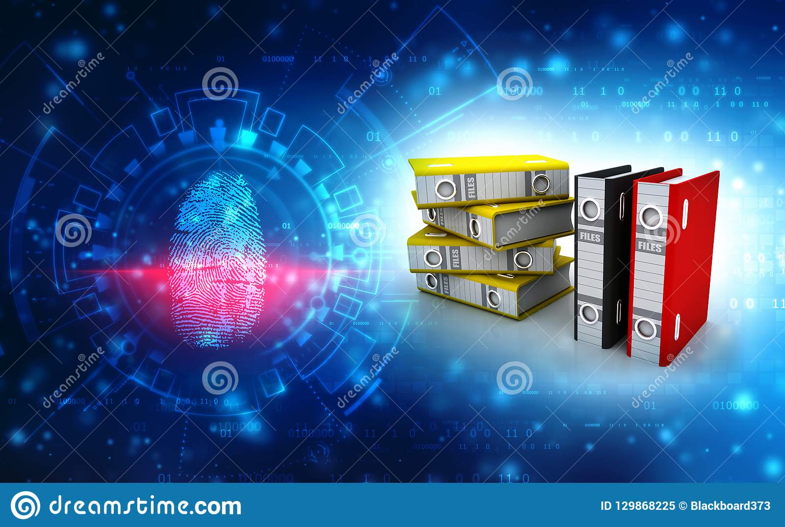 Επιχειρησιακοί αρχεία και φάκελλοι στο ψηφιακό υπόβαθρο τρισδιάστατος δώστε
