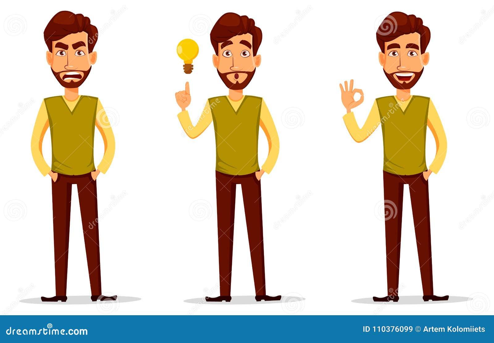 Επιχειρησιακό άτομο με τη γενειάδα, χαρακτήρας κινουμένων σχεδίων - σύνολο